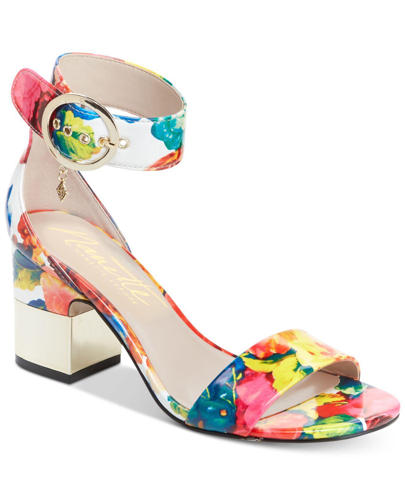 NANETTE nanette lepore Thora Floral Ankle Strap Sandal tjMLM9Fr