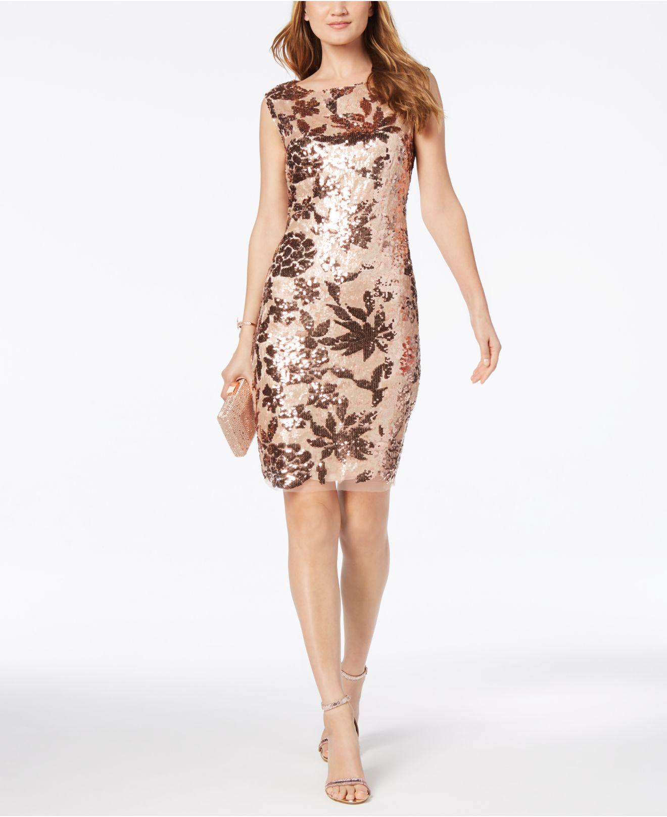 4559edc7aee2 Vince Camuto Floral Sequined Dress in Pink - Lyst