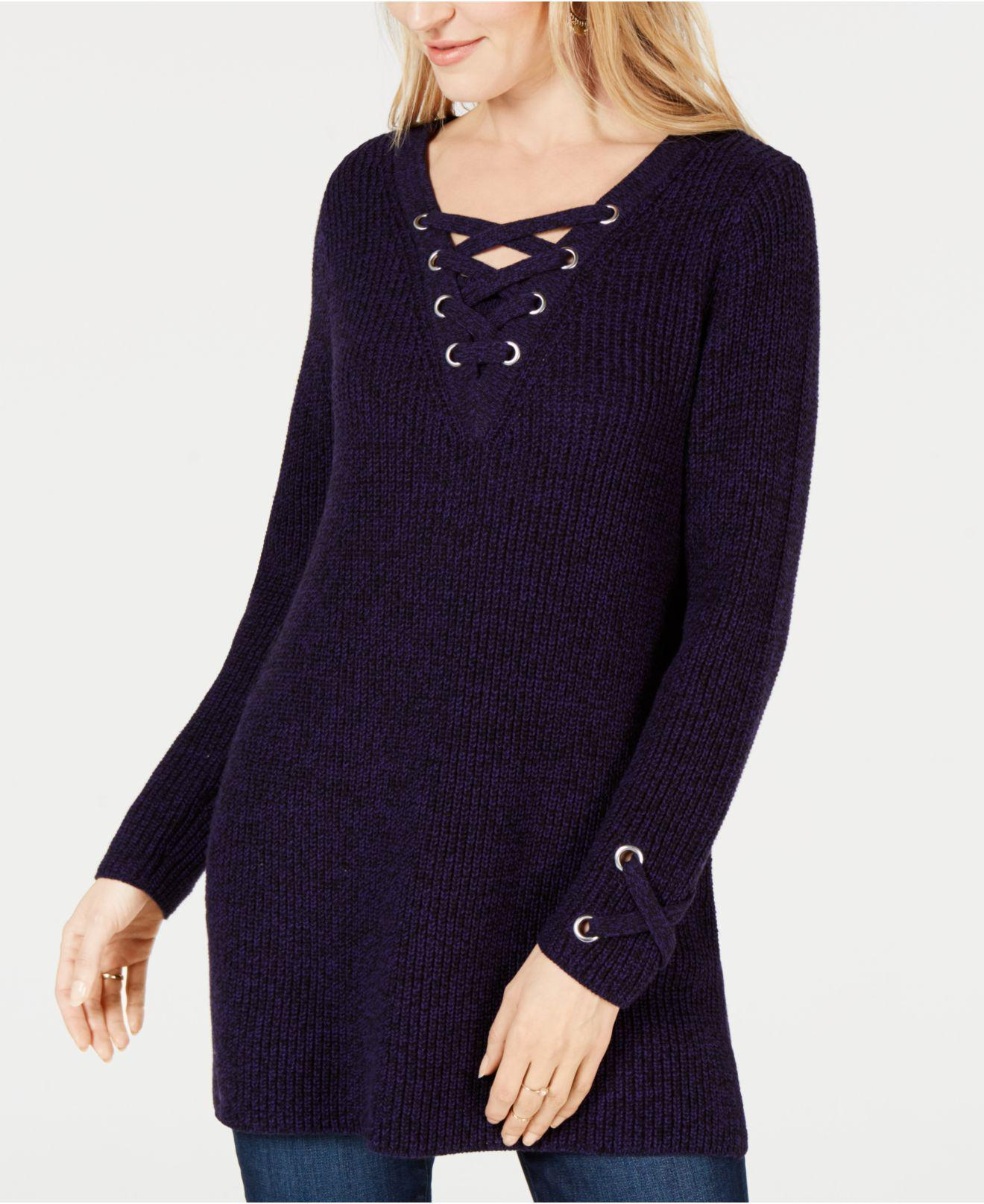 Lyst Style Co Lace Up Tunic Sweater Created For Macys In Blue