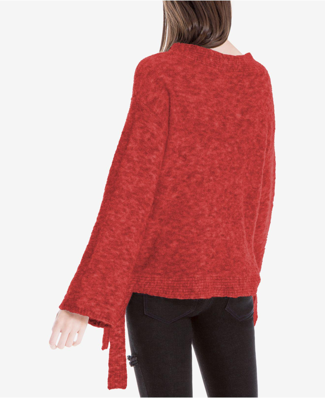 Max studio Side-tie Melange Sweater in Red | Lyst