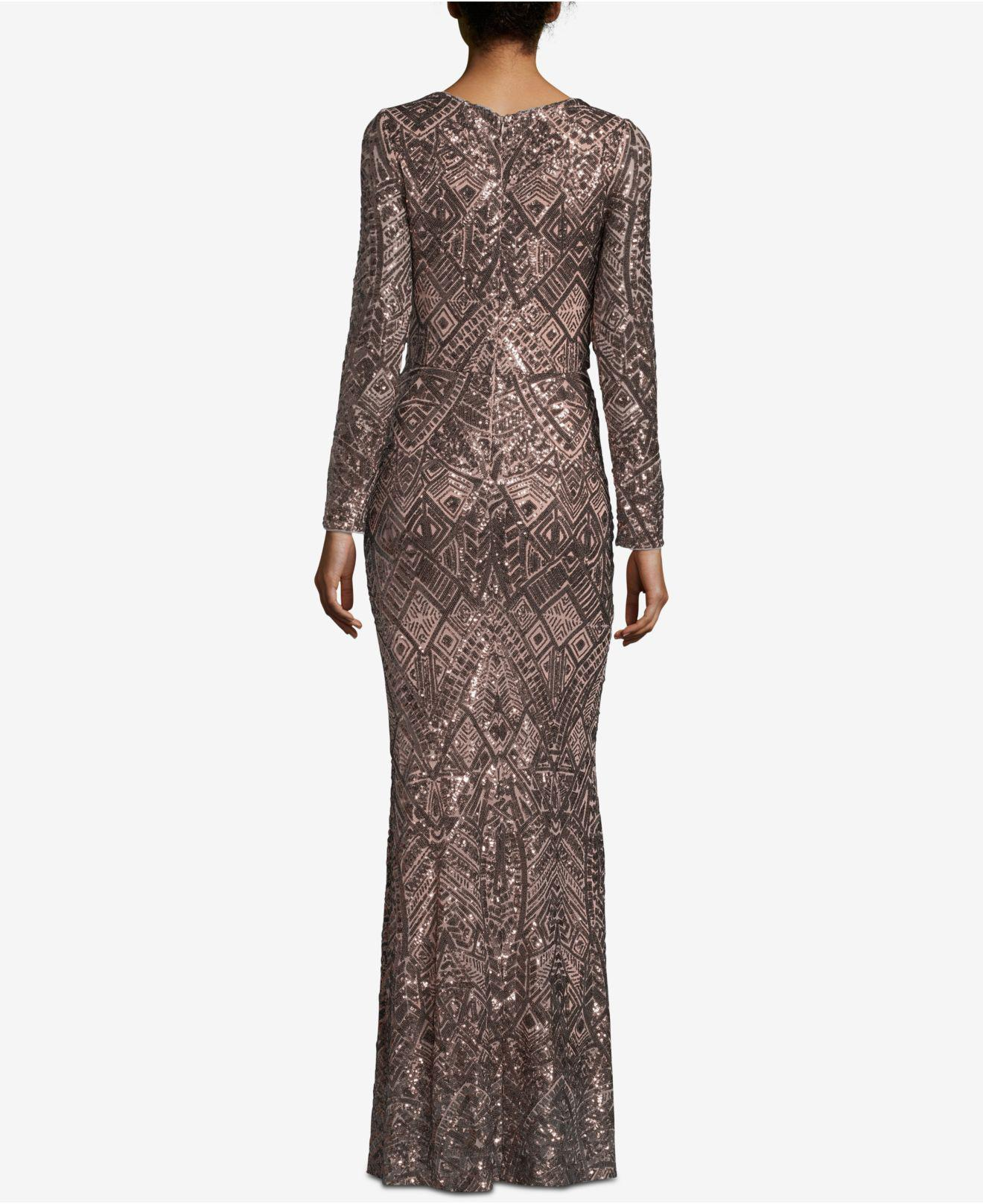 278bfaa0272 Betsy   Adam Petite Long-sleeve Sequin Gown - Lyst
