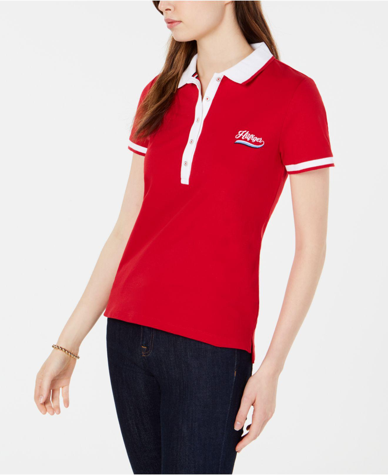31eec8c797ff3 Tommy Hilfiger. Women s Embroidered Logo Polo Top ...
