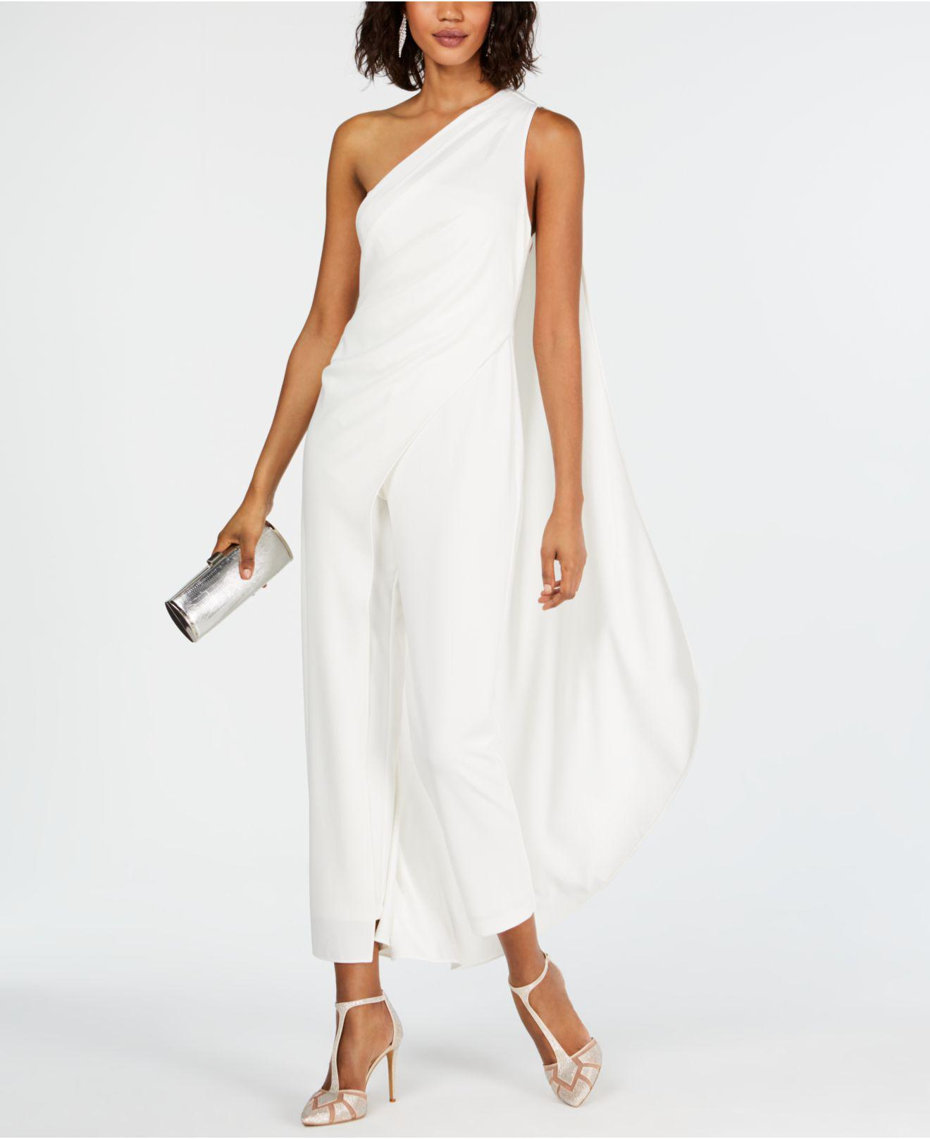 a009da42f1f Lyst - Adrianna Papell One-shoulder Crepe Jumpsuit in White