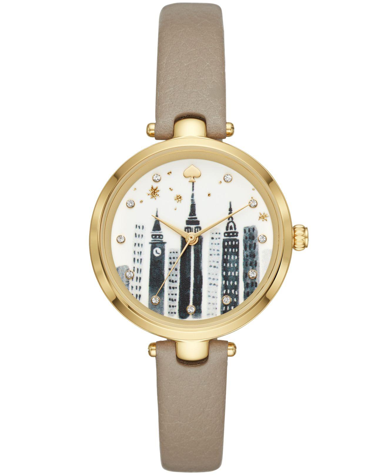 e9598f93f96 Lyst - Kate Spade Holland Gray Leather Strap Watch 34mm in Gray