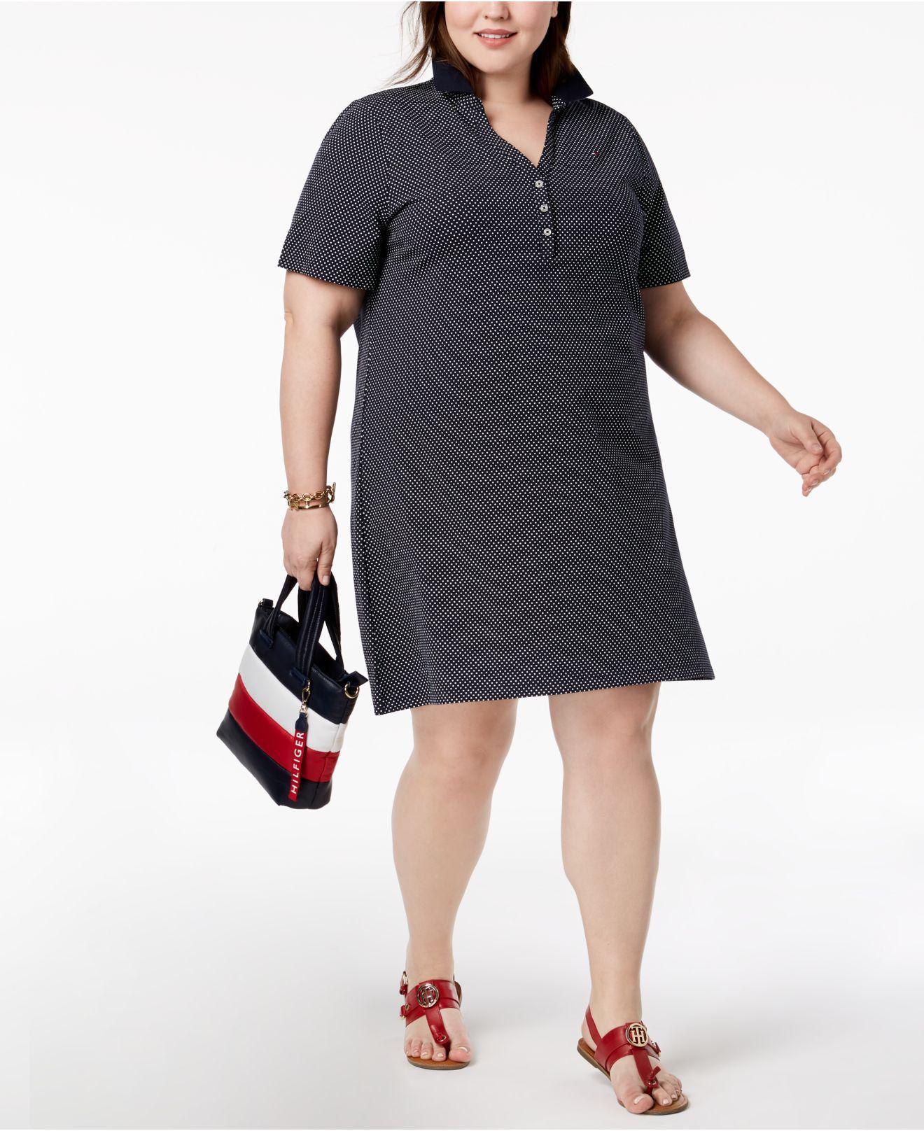 56d21b12dba65 Lyst - Tommy Hilfiger Plus Size Printed Polo Shirtdress