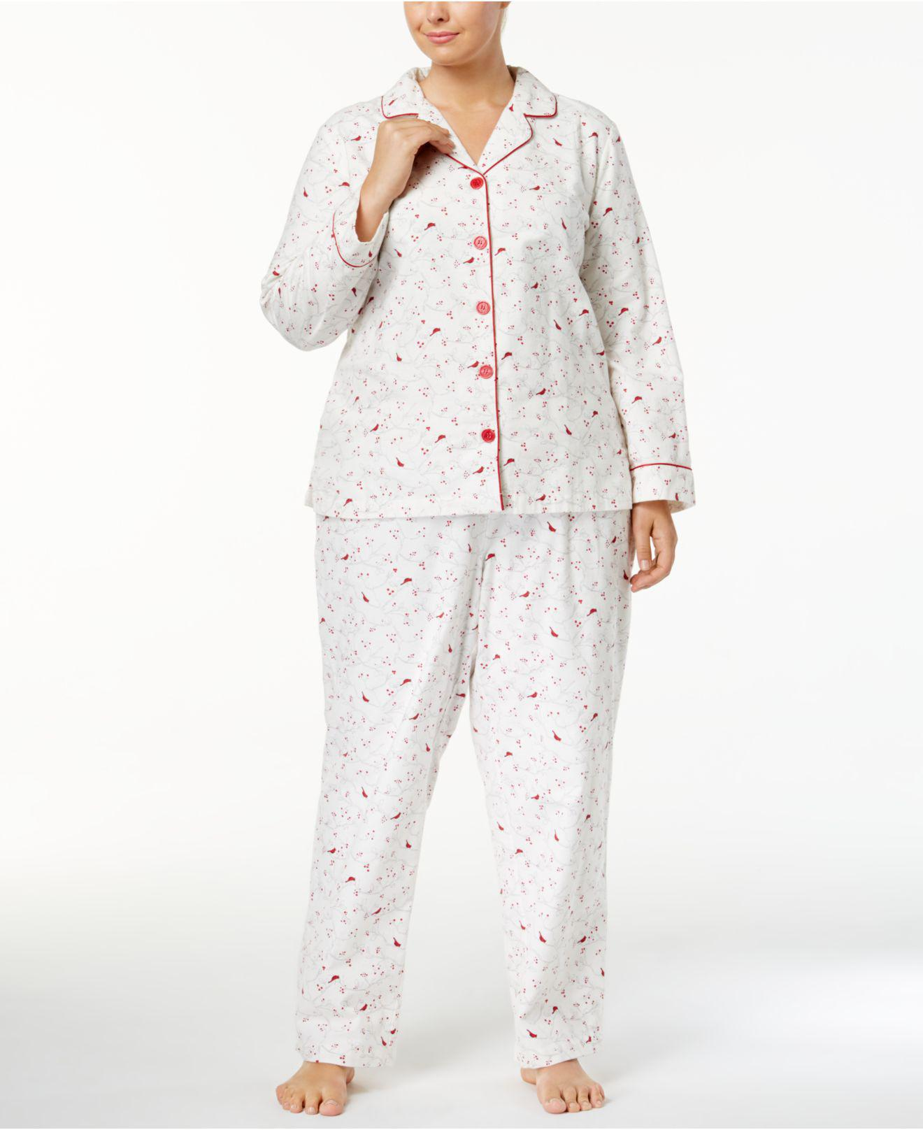 9668c11e9db8 Lyst - Charter Club Plus Size Printed Flannel Pajama Set in White
