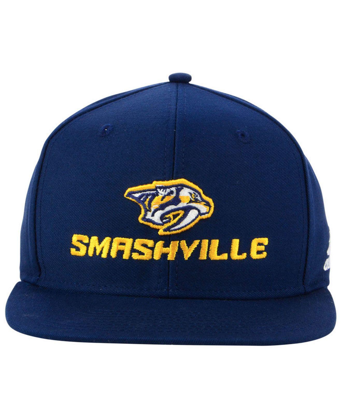 Lyst - adidas Nashville Predators Smash Snapback Cap in Blue for Men 9c0ed9f8791d