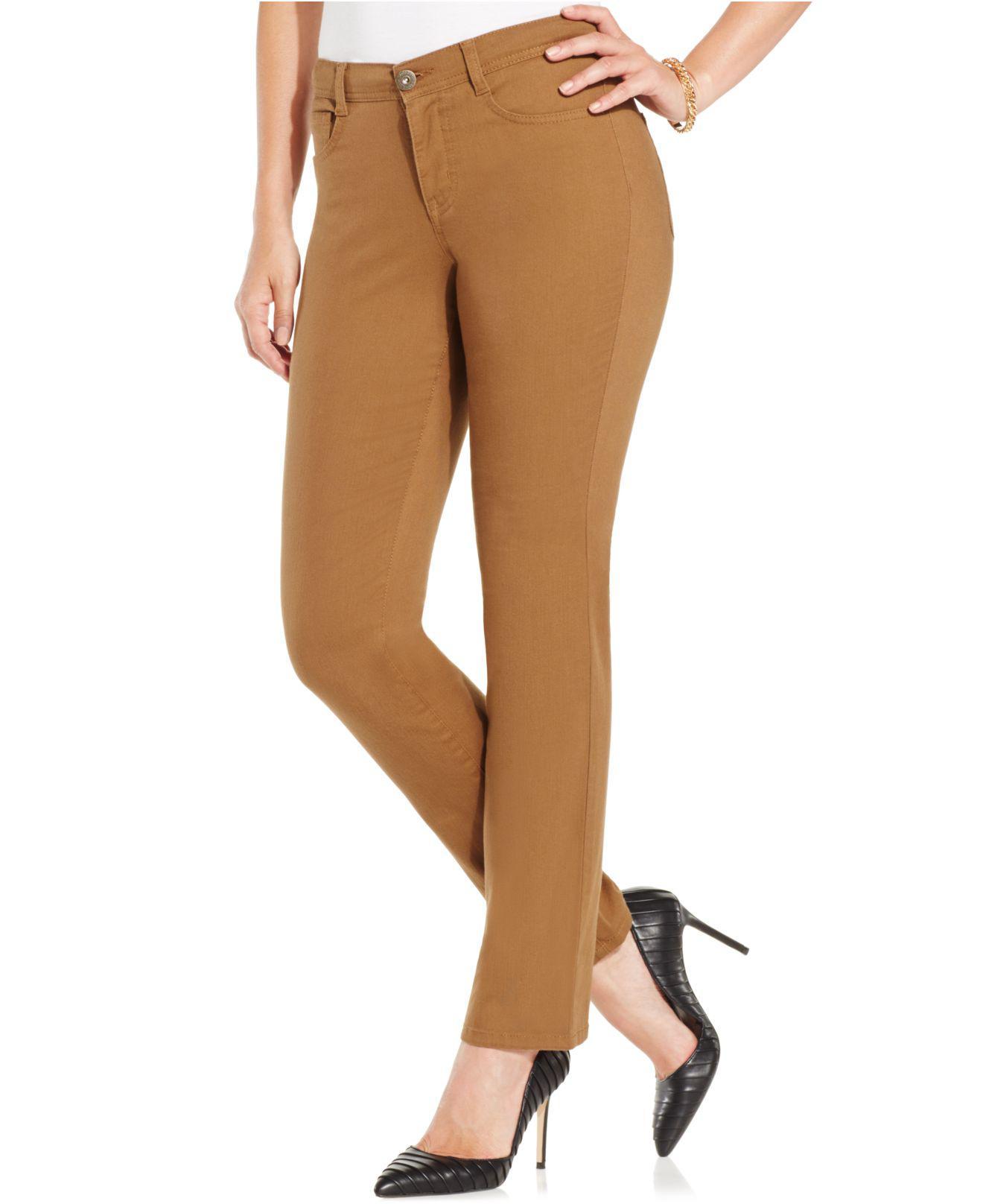 1a92ec2b8e5 Style   Co. Women s Brown Petite Tummy-control Slim-leg Jeans ...
