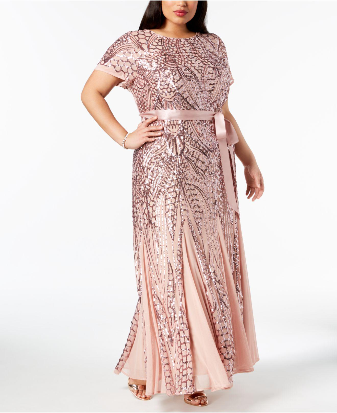 Lyst - R & M Richards Plus Size Sequined Godet Gown in Pink