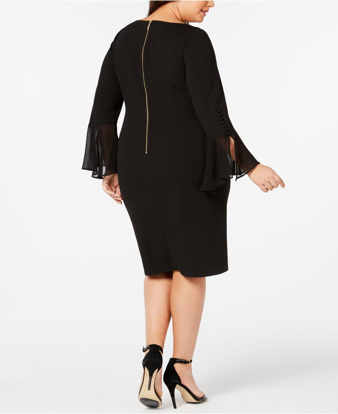 2ed2321bc78 Calvin Klein Plus Size Illusion Bell-sleeve Dress in Black - Lyst