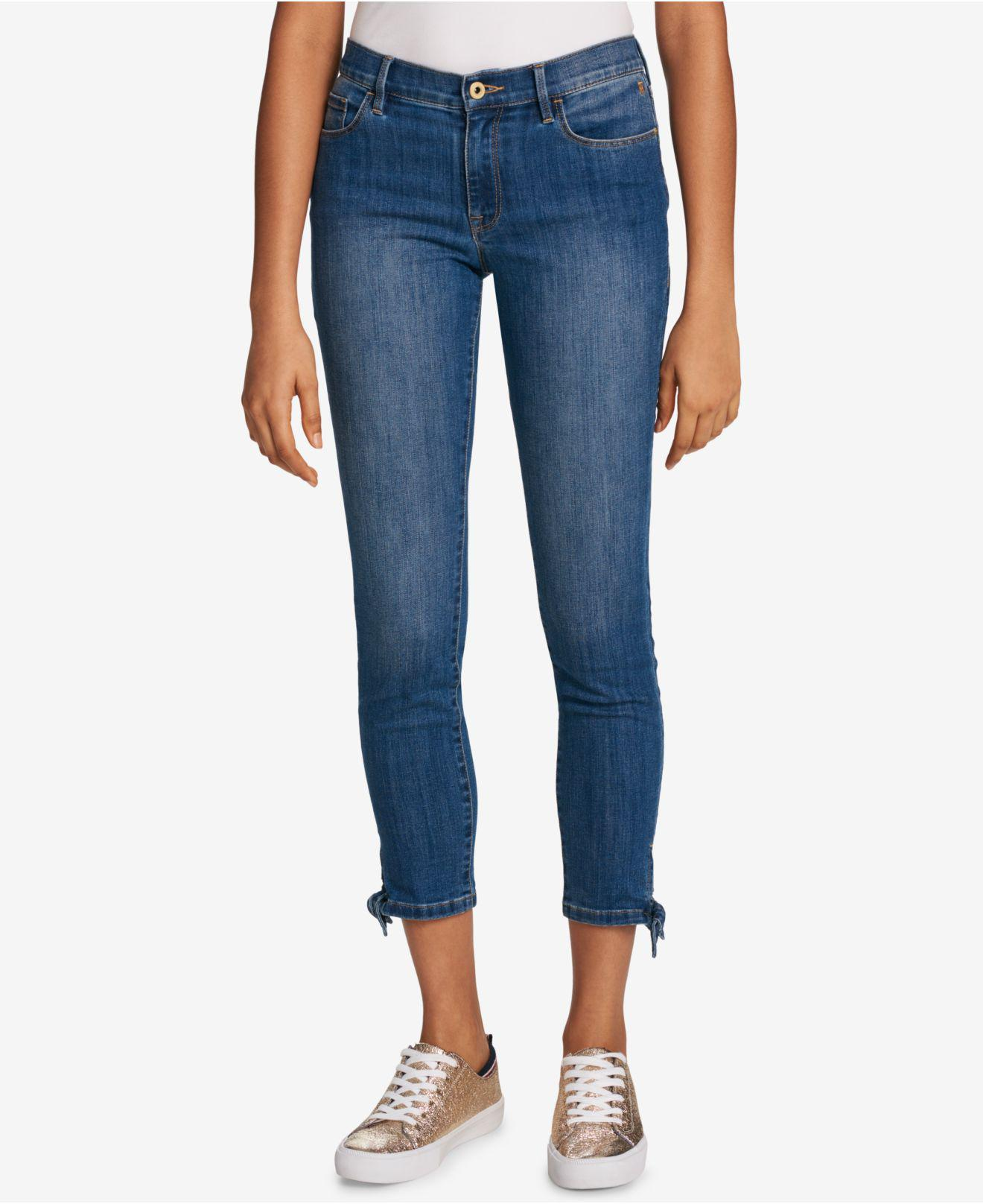 be532047dbf4a Lyst - Tommy Hilfiger Tie-ankle Skinny Jeans in Blue