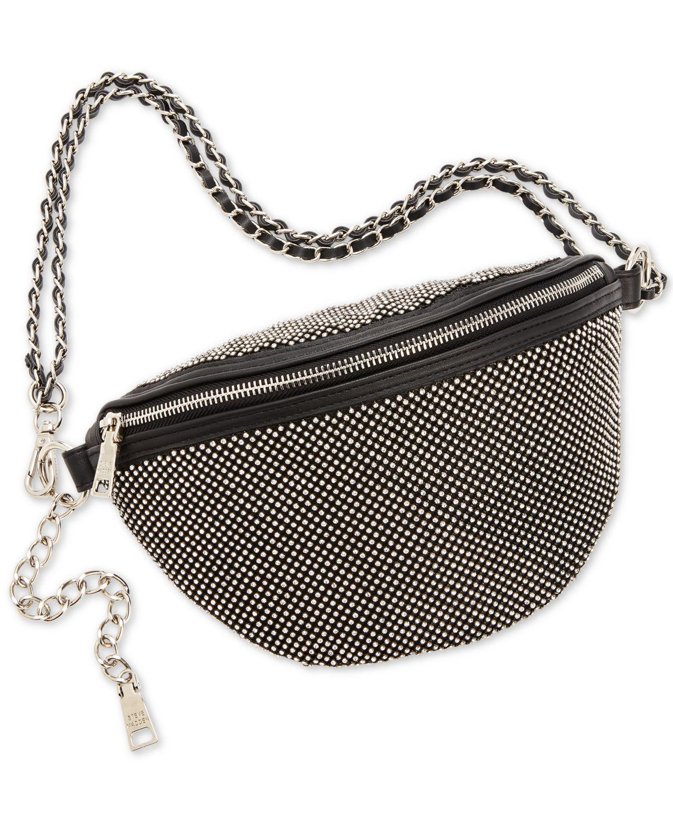 fb20b8af1527 Lyst - Steve Madden Bling Convertible Belt Bag in Black