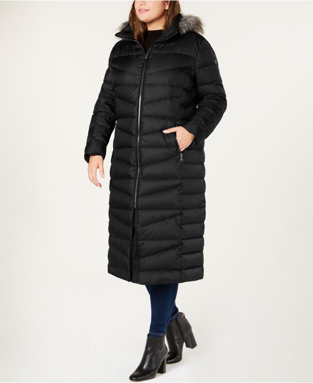 e7cd1582230 Lyst - Calvin Klein Plus Size Faux-fur-trim Hooded Maxi Coat in Black