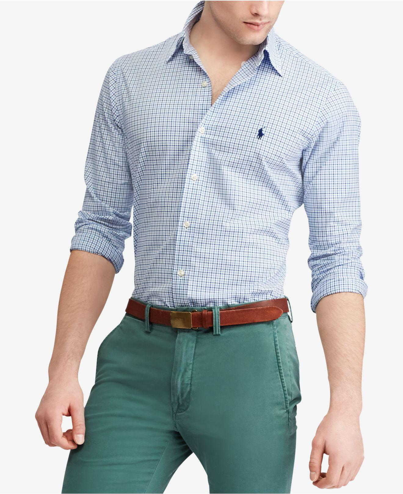 51d569c8d Lyst - Polo Ralph Lauren Slim Fit Plaid Shirt in Blue for Men