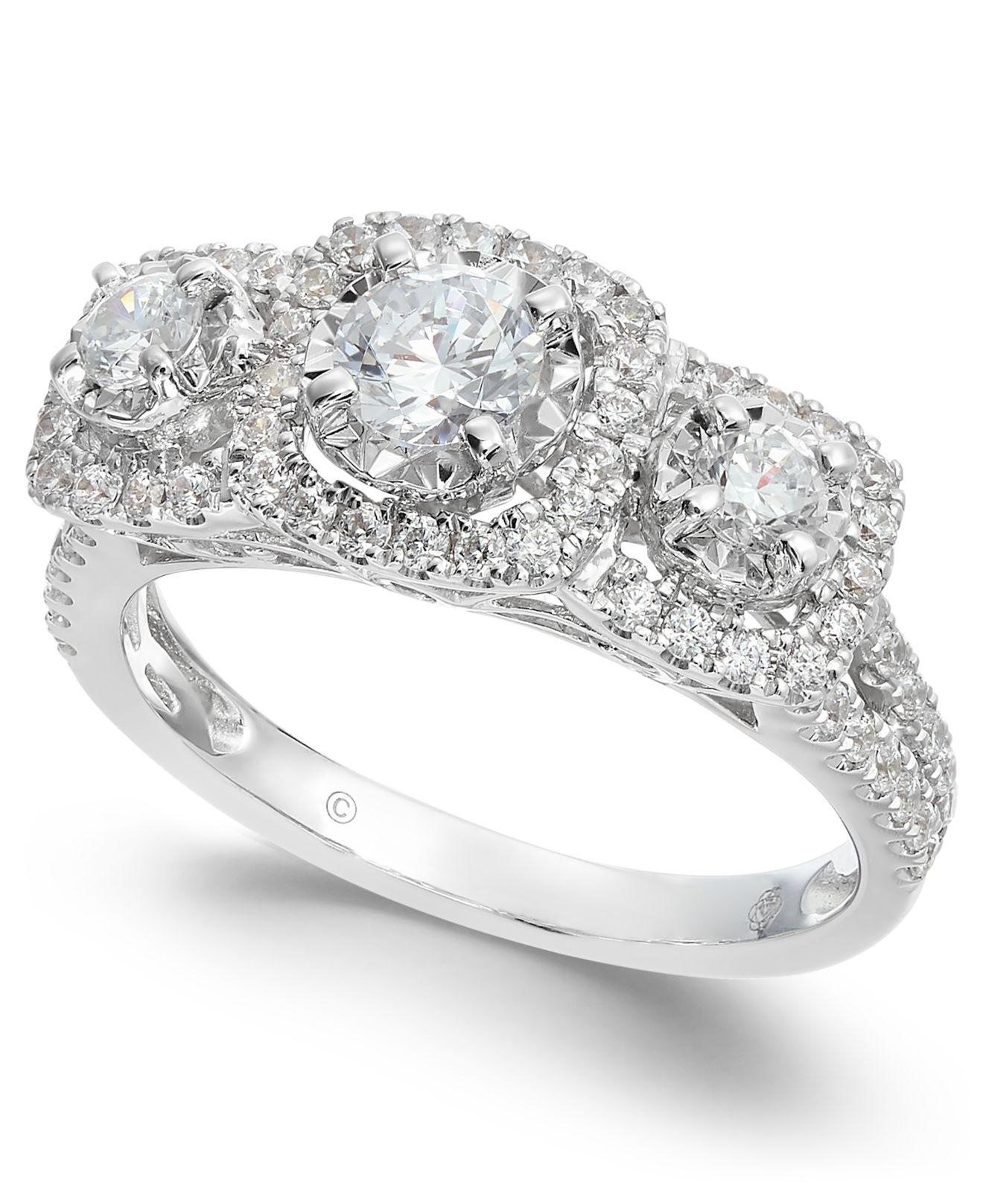 Macy's Triple Diamond Engagement Ring (1 Ct. T.w.) In 14k