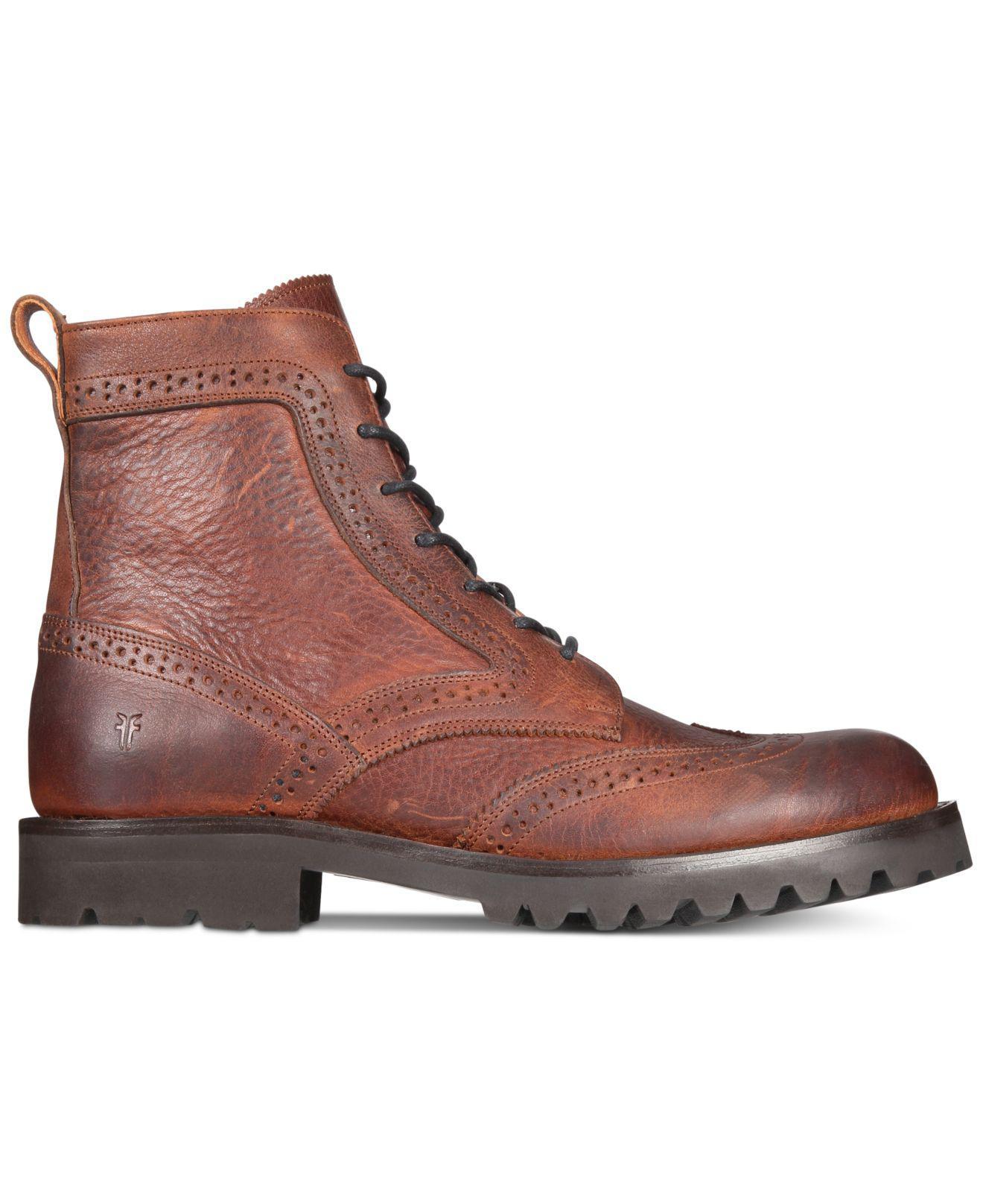 7ea85b37a70e Lyst - Frye Men s Earl Wingtip Boots in Brown for Men