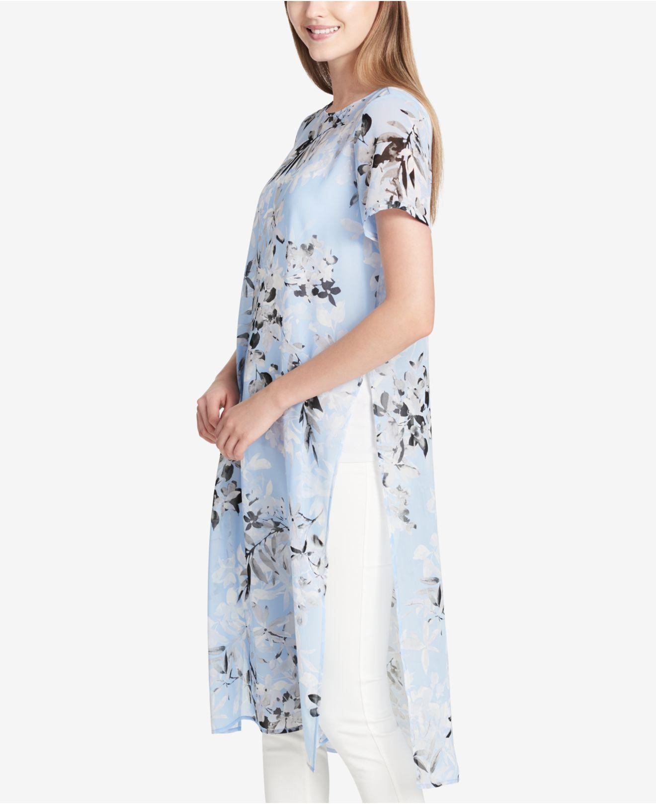 0dc945f82b8 Calvin Klein Printed Maxi Tunic in Blue - Lyst