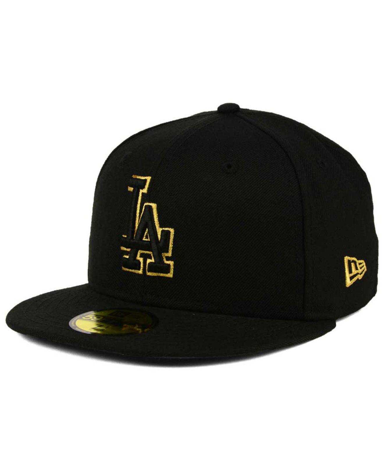 c49c79e5416 Lyst - Ktz Los Angeles Dodgers Black On Metallic Gold 59fifty Cap in ...