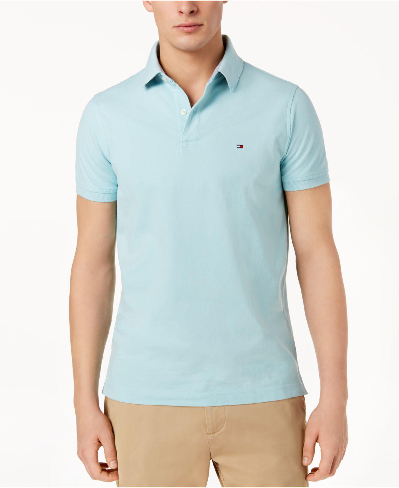 c537e8d2bf517 Lyst - Tommy Hilfiger Slim-fit Stretch Logo Polo Shirt in Green for Men