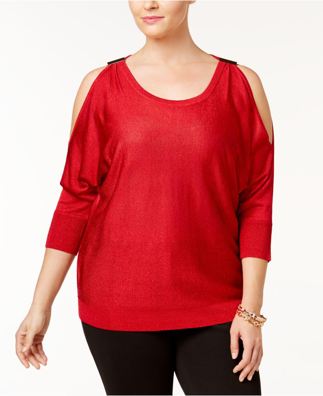 58b89793fb7 Lyst - Inc International Concepts Plus Size Cold-shoulder Sweater in Red