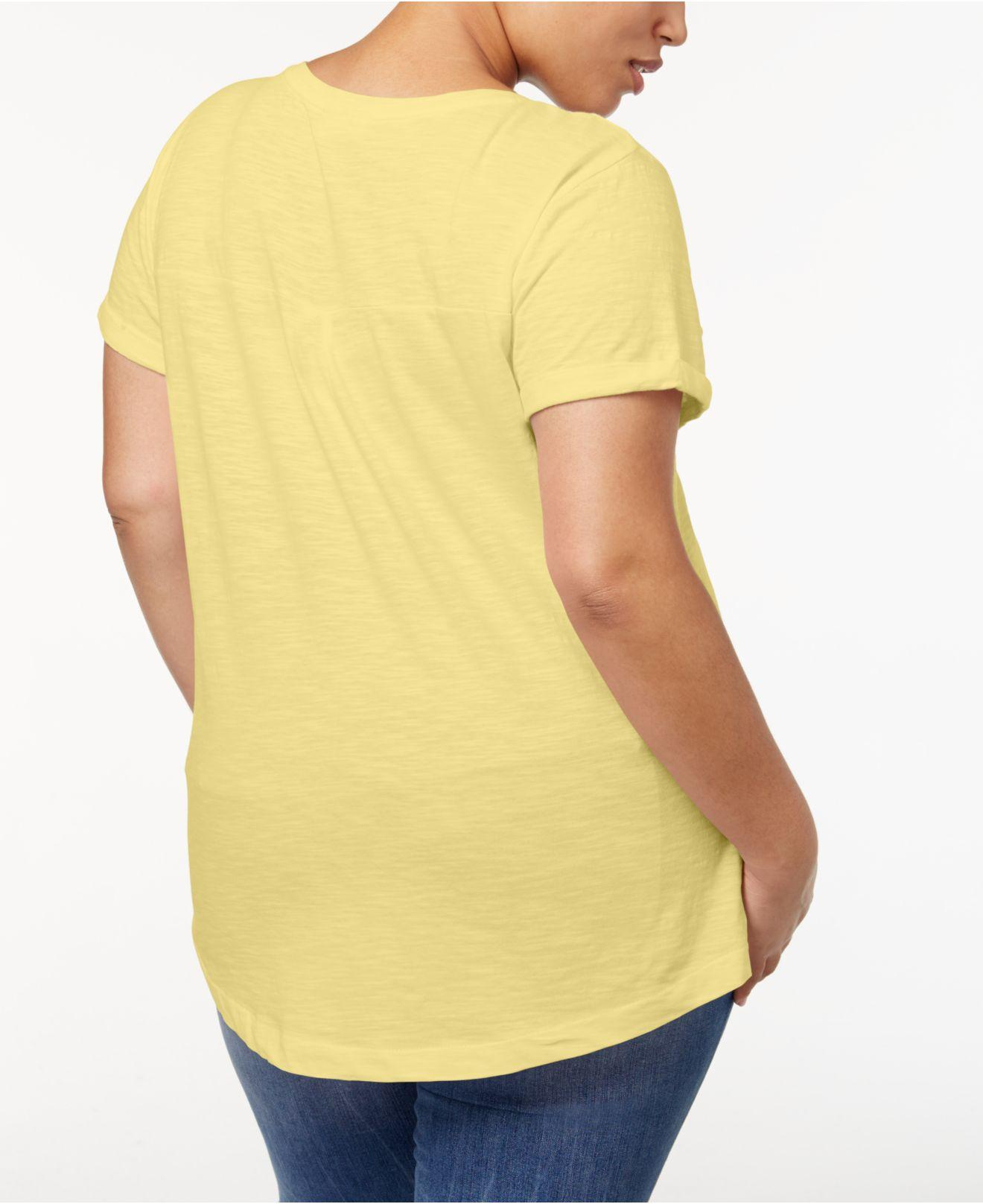 5deaaef95 Lyst - Style & Co. Plus Size V-neck T-shirt, Created For Macy's in Yellow