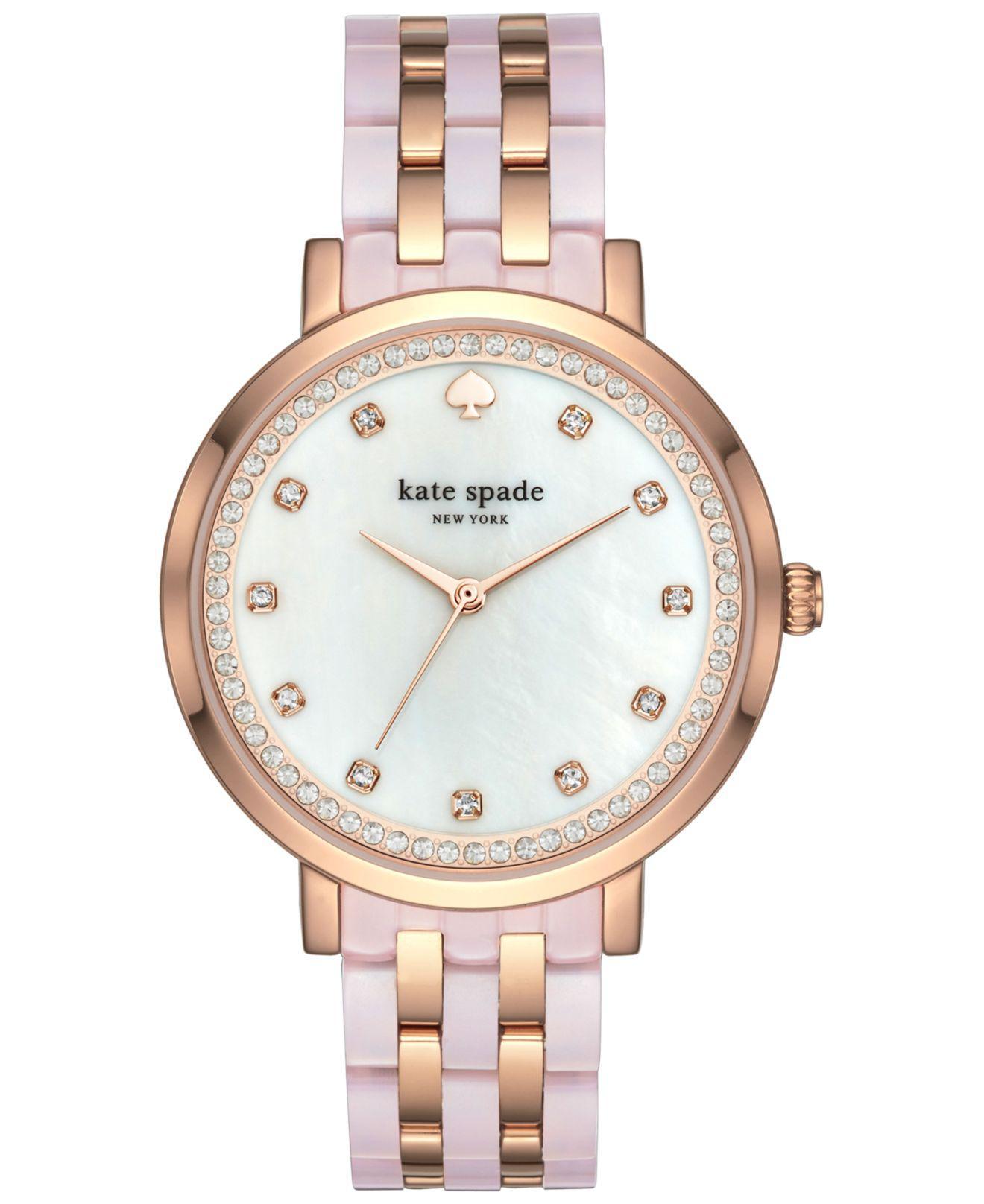 b3035e42c99 Kate Spade - Women s Monterey Rose Gold-tone Stainless Steel And Blush Pink  Acetate Bracelet. View fullscreen