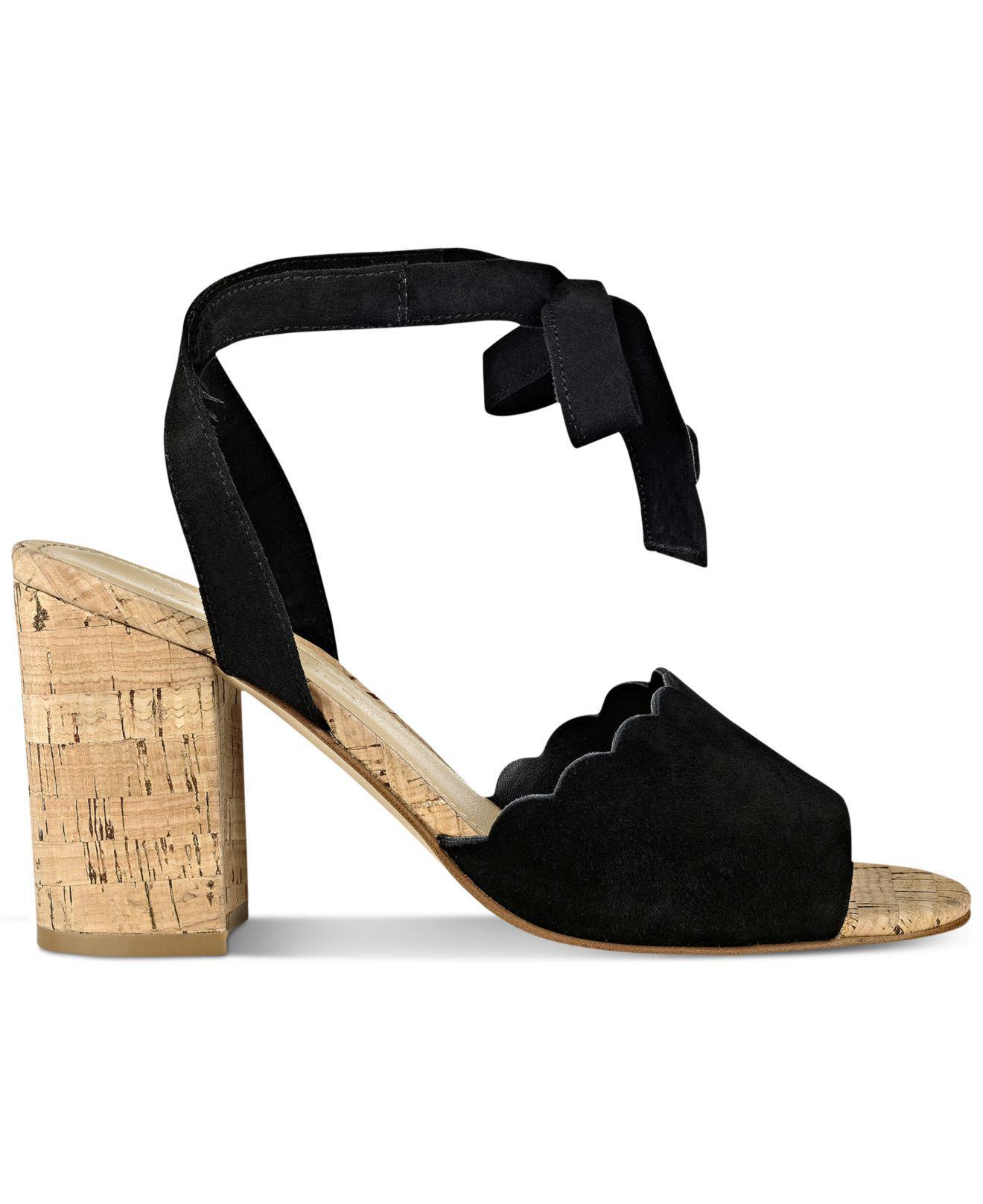 60b18ee52e7 Lyst - Marc Fisher Piya Lace-up Cork Block-heel Sandals in Black