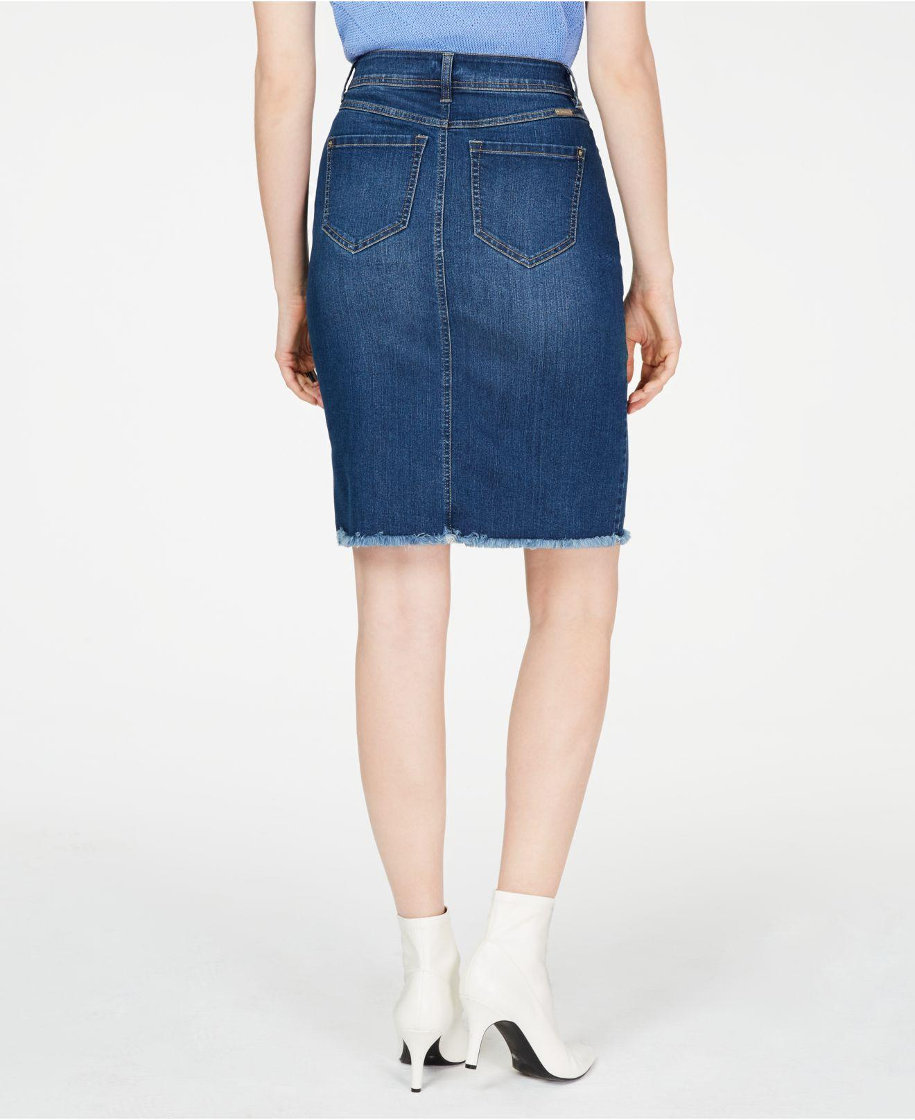 30b989cea Lyst - INC International Concepts I.n.c. Raw-edge Jean Skirt, Created For  Macy's in Blue