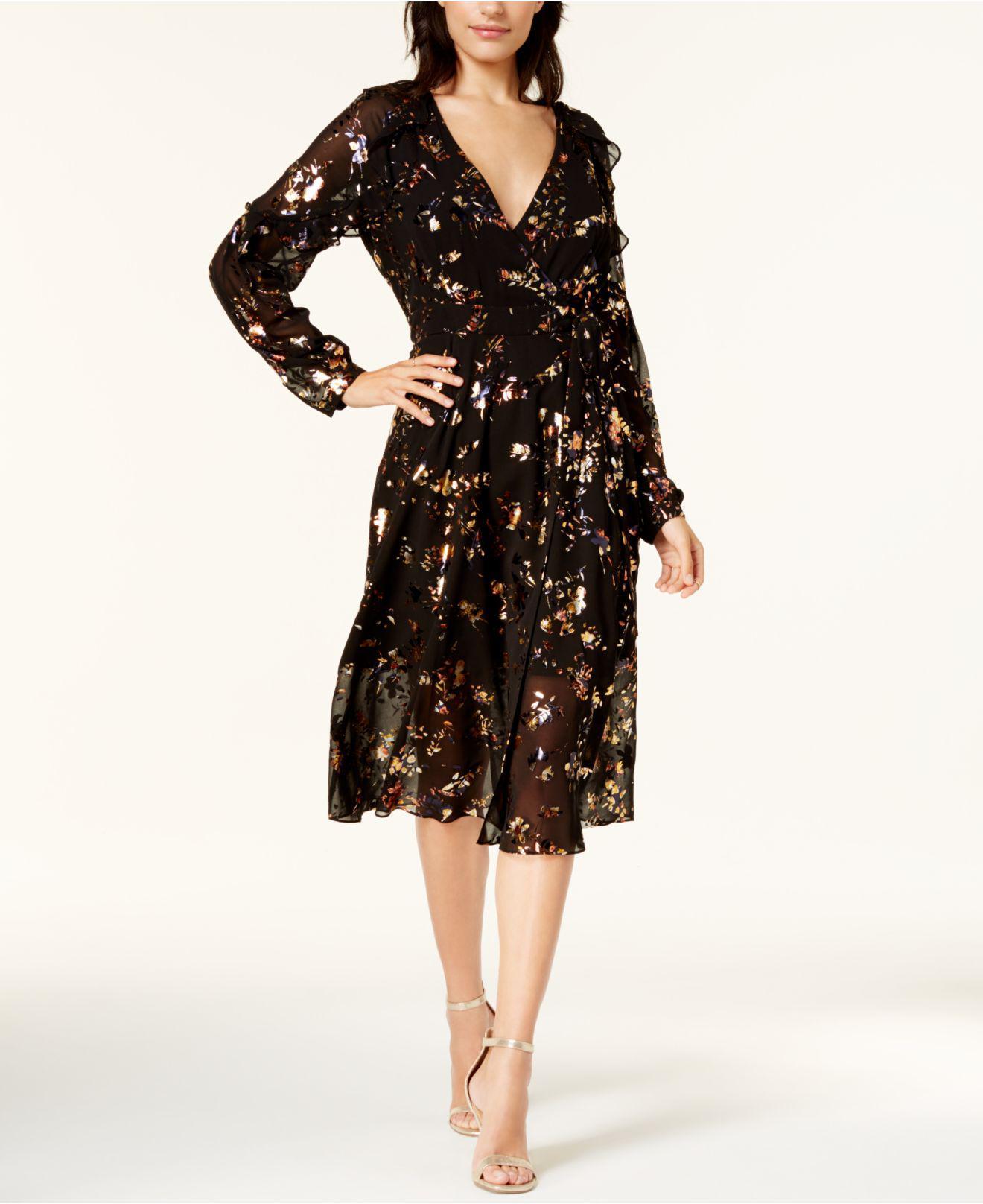 c2f2974d5823f Lyst - RACHEL Rachel Roy Printed Mesh Wrap Dress in Black