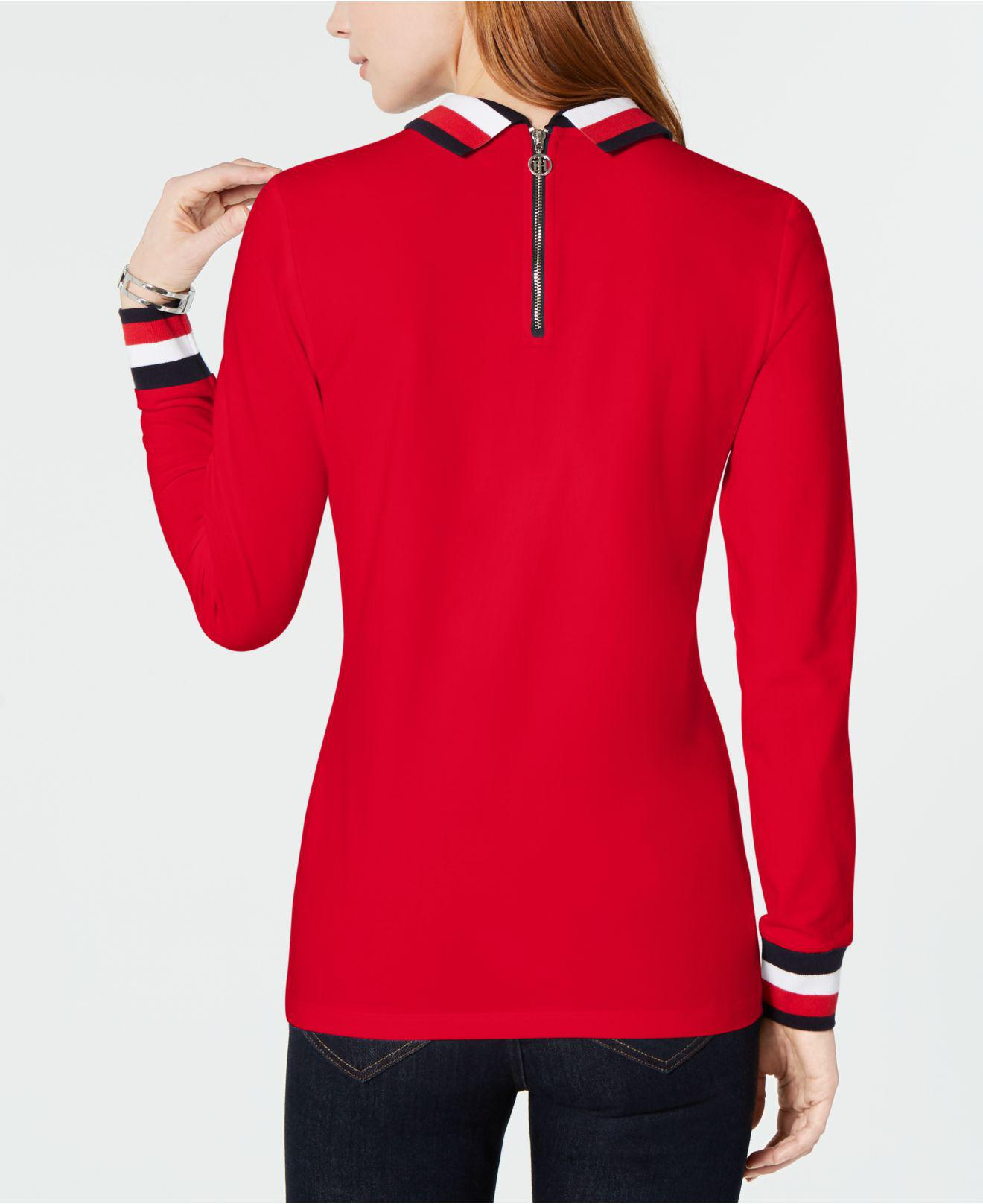 58fc4925 Lyst - Tommy Hilfiger Flag Long-sleeve Polo Top, Created For Macy's in Red