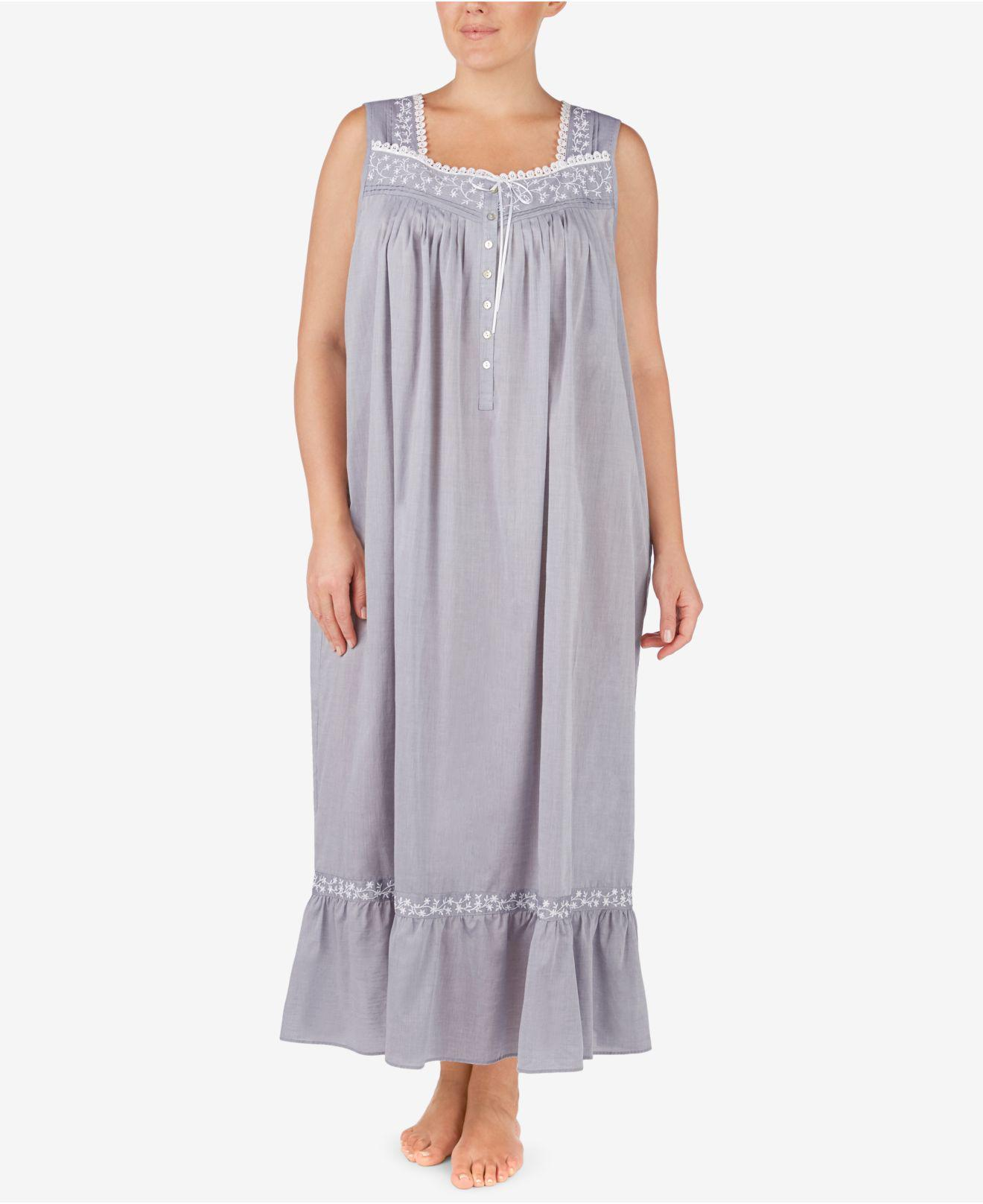 45c2cac8bc Lyst - Eileen West Plus Size Cotton Chambray Ballet Nightgown in ...