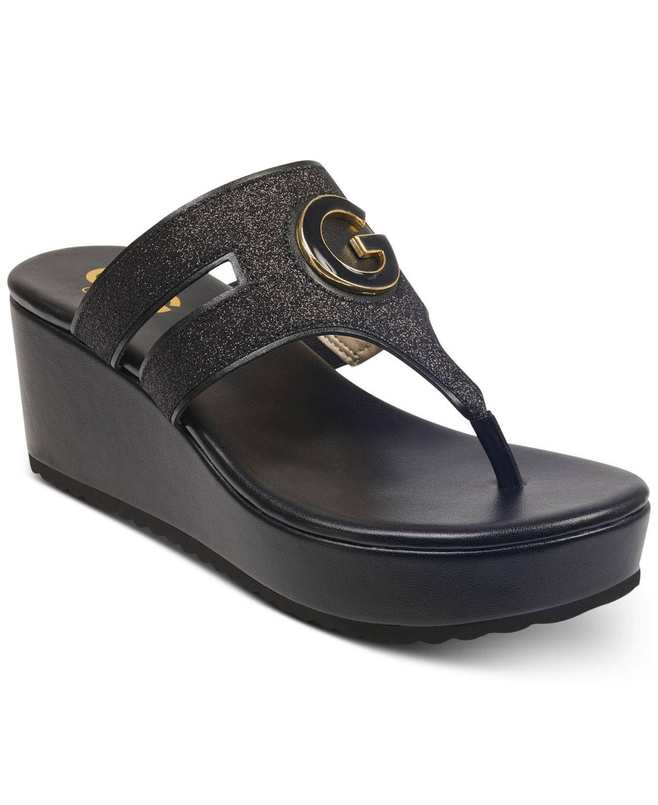 d848e6b25 Lyst - G by Guess Gandy Wedge Sandals in Black