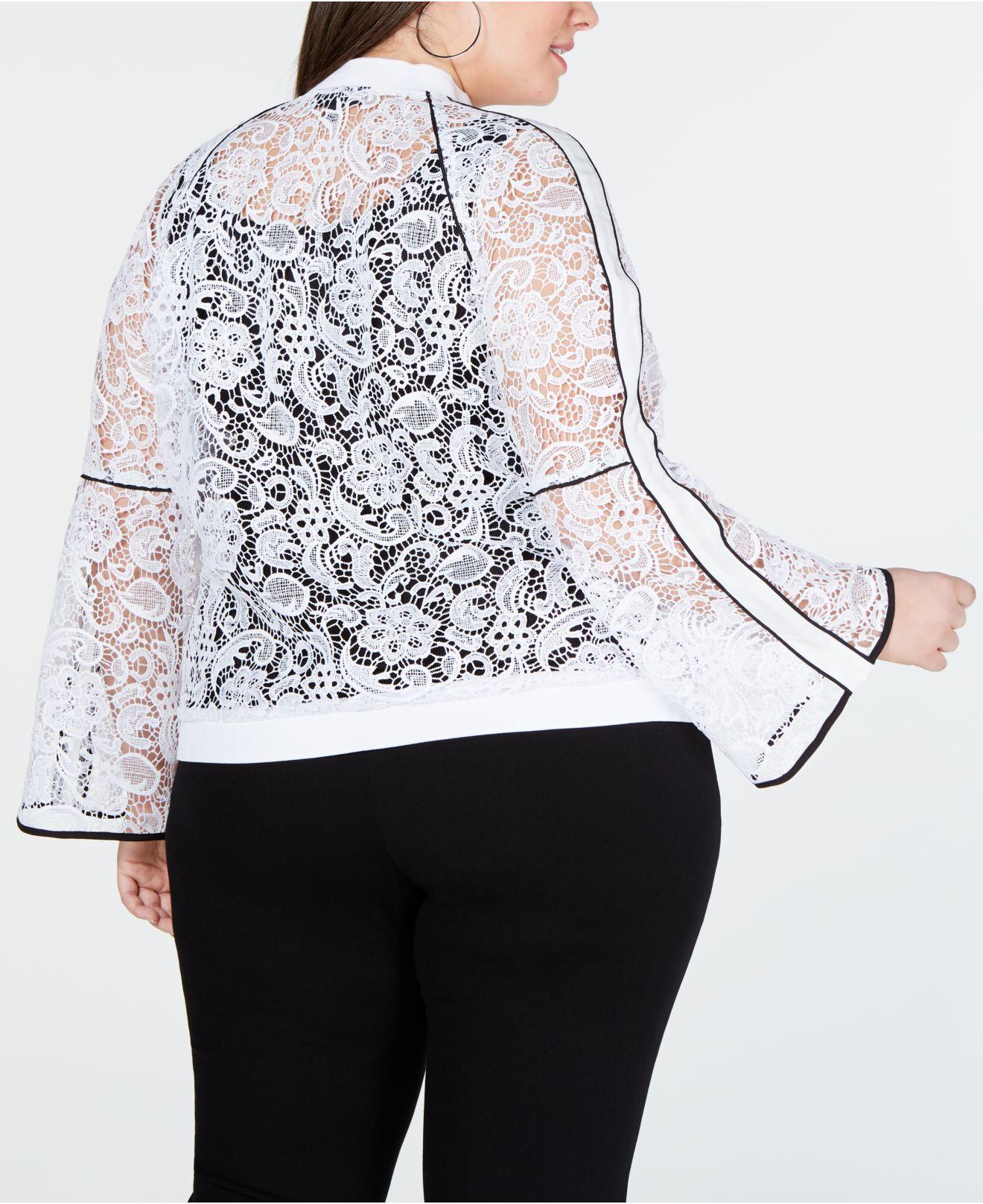 8136fe0937196 Lyst - INC International Concepts I.n.c. Plus Size Piped Lace Bomber Jacket