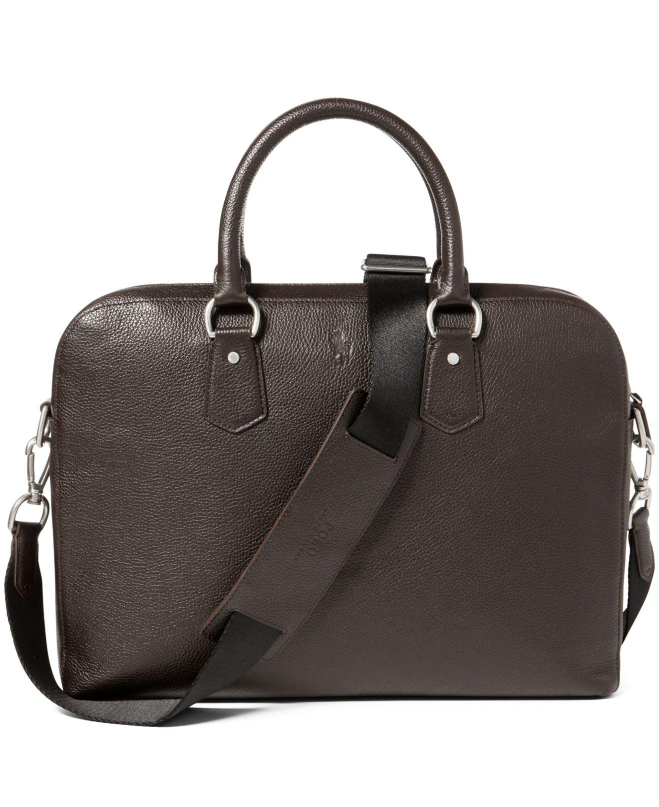 2c52a2f10bc5 Lyst - Polo Ralph Lauren Men s Pebbled Leather Briefcase in Brown for Men