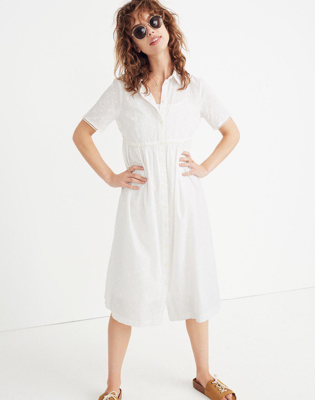 46bb1a19cd Madewell Clipdot Midi Shirtdress in White - Lyst