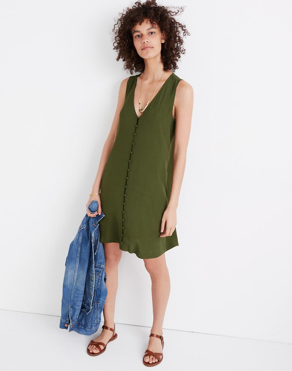 b7d2696bf1 Lyst - Madewell Heather Button-front Dress in Green