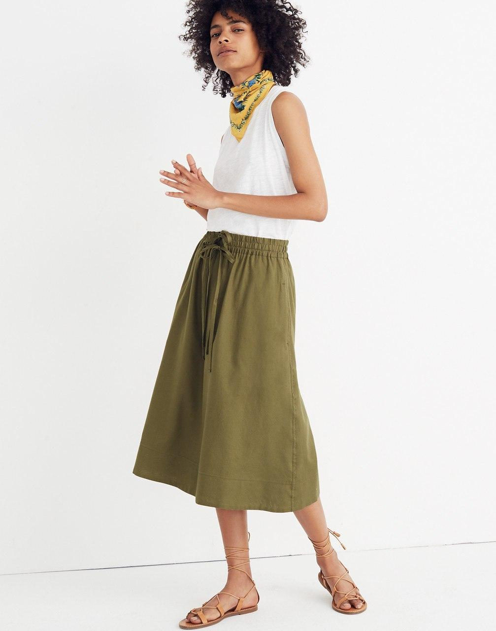 13cb3750d Lyst - Madewell Drawstring Circle Skirt in Green