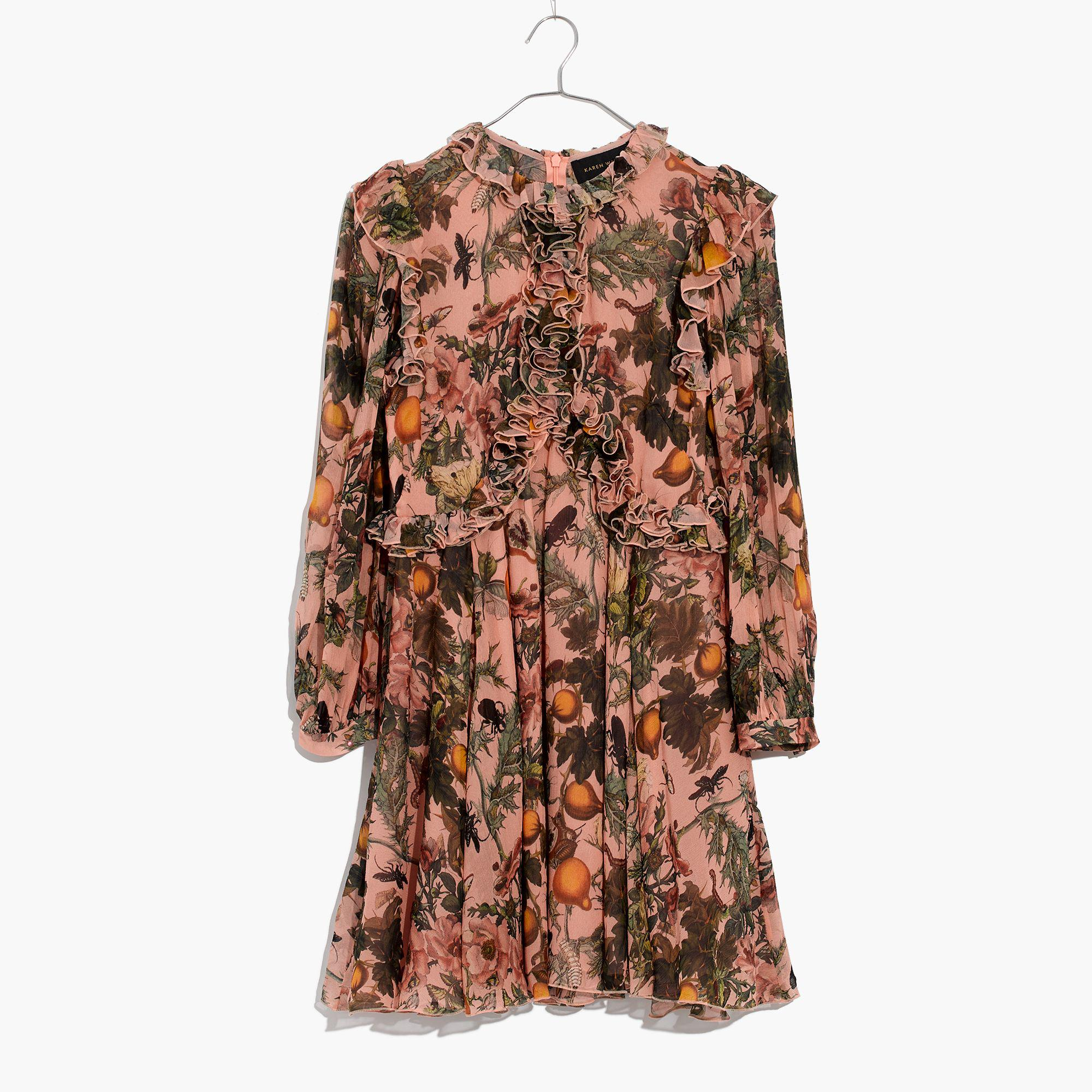 5b5ccdf46de Madewell Karen Walker® Fantasy Ruffled Print Dress in Brown - Lyst