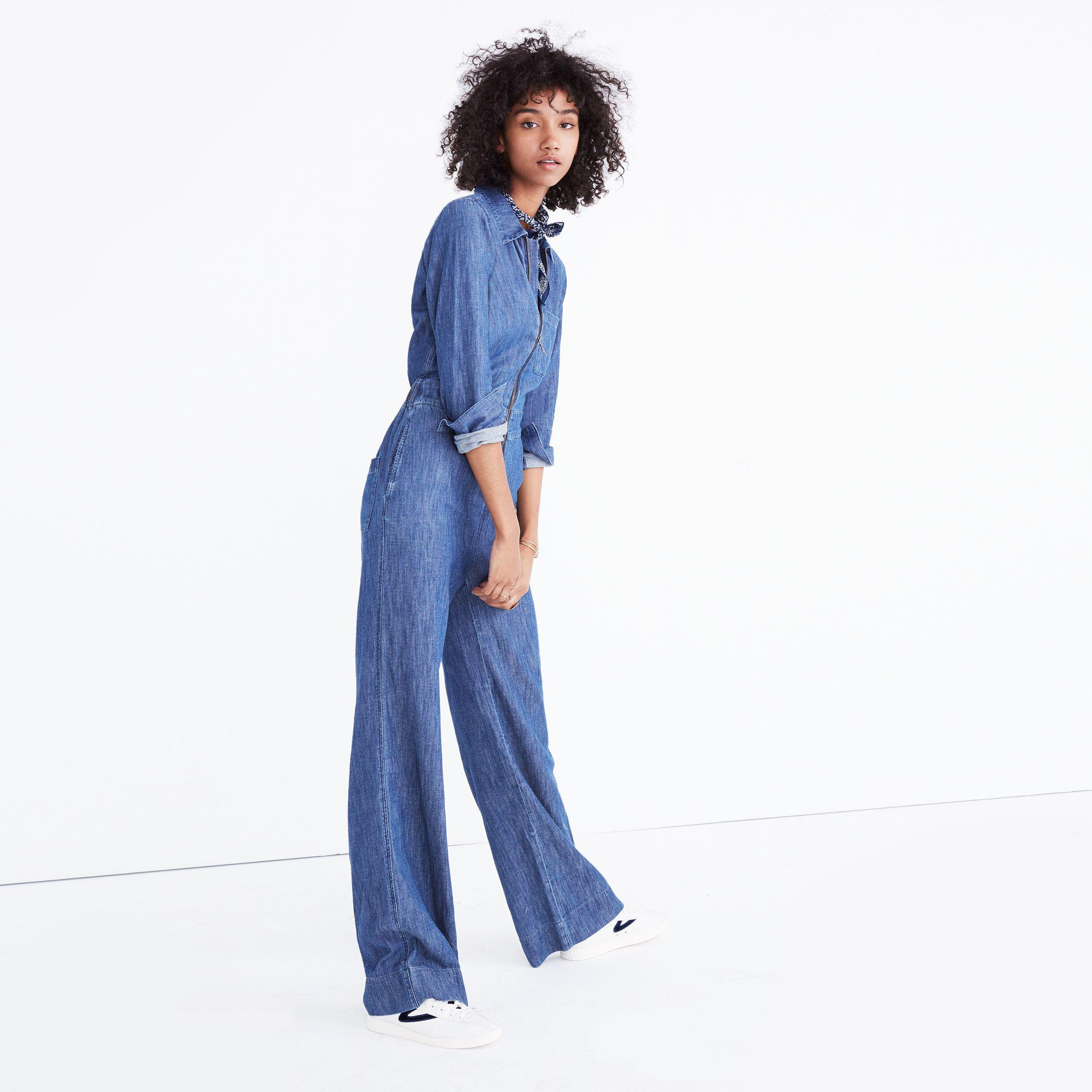 98a82e3fb0 Lyst - Madewell Denim Wide-leg Jumpsuit in Blue
