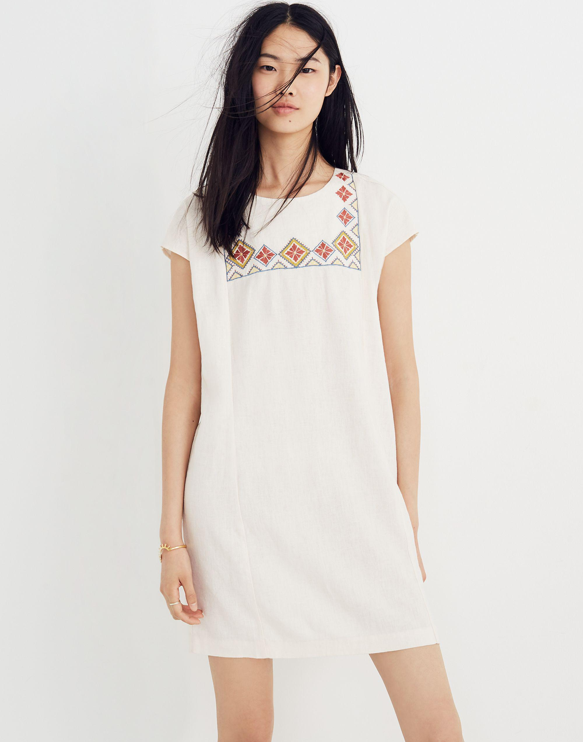 623133b8fa Madewell Embroidered Pinon Dress in White - Lyst