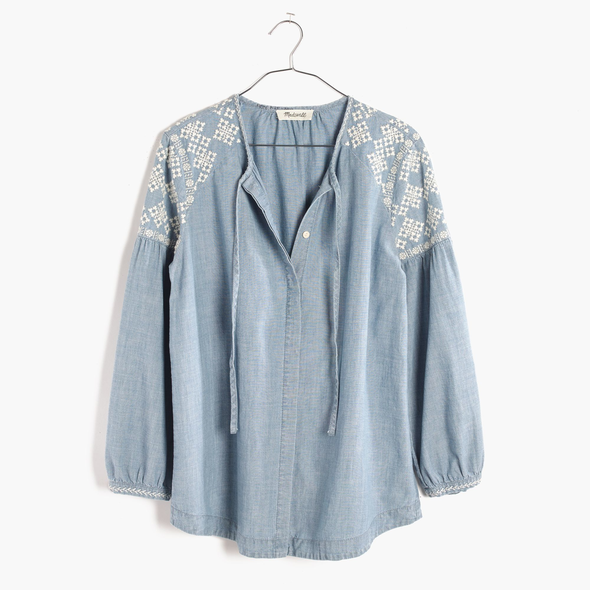 Lyst madewell embroidered chambray tealeaf top in blue for Chambray top
