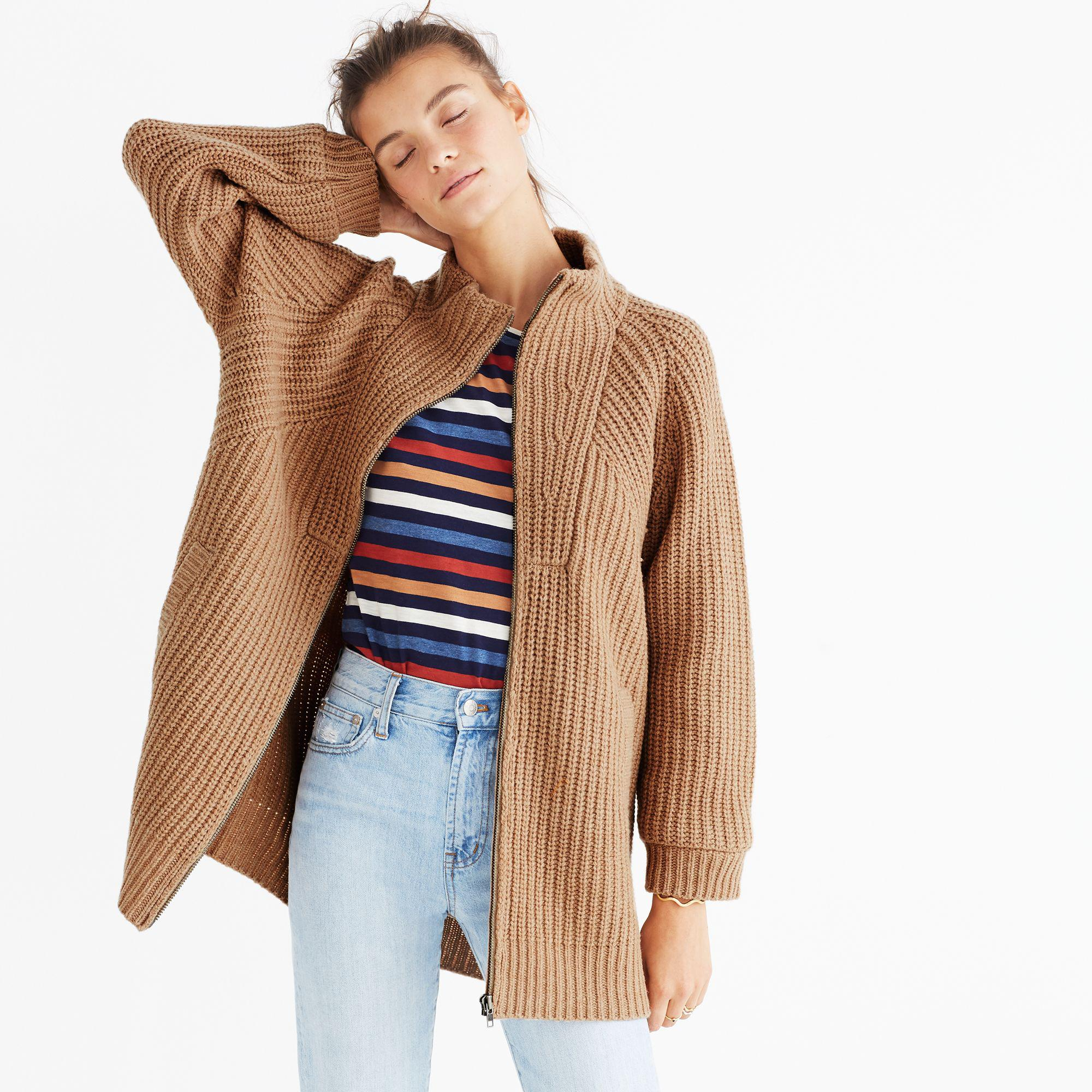 Lyst Madewell Ribbed Zip Cardigan Sweater In Brown