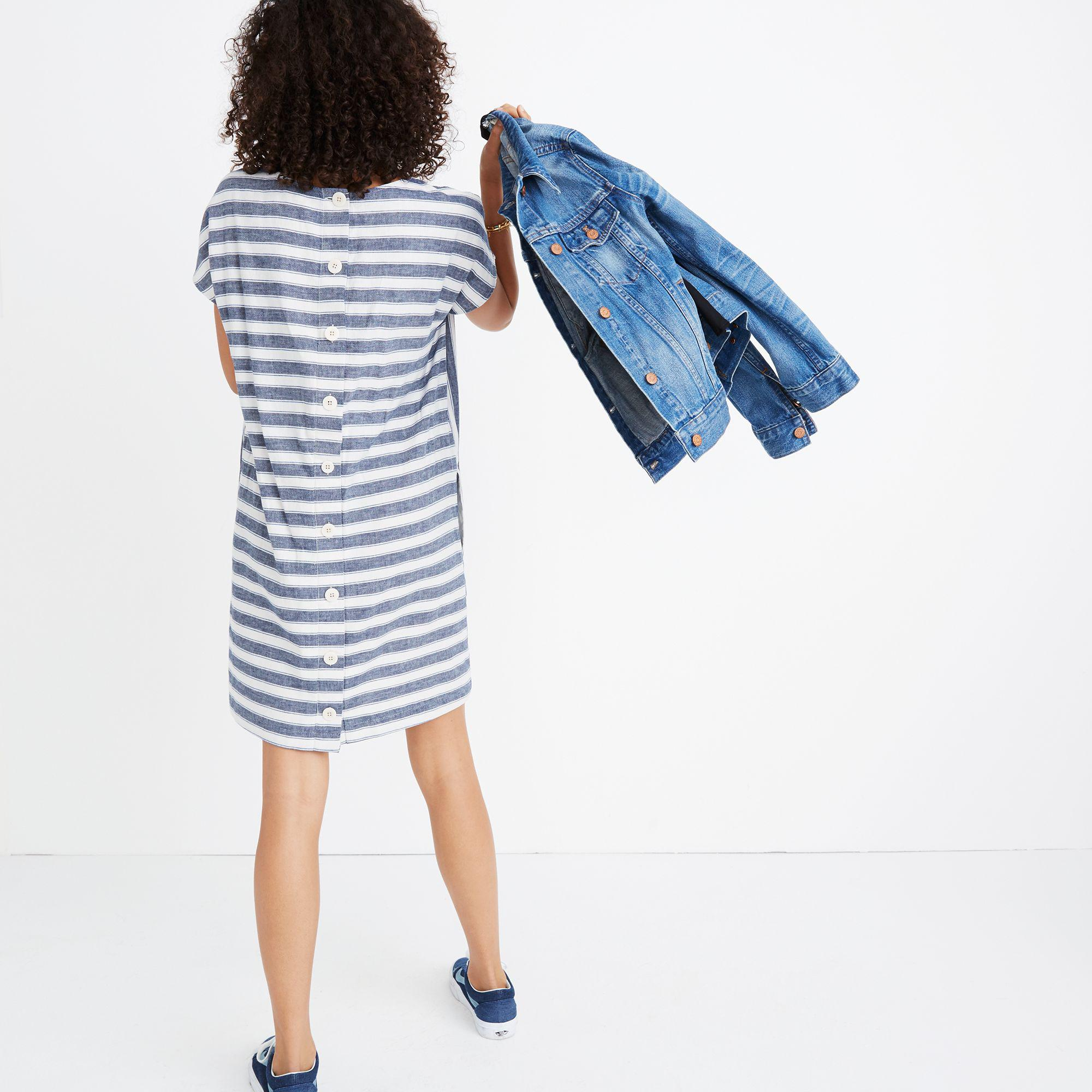 abfc9e1f0fc Lyst - Madewell Stripe-play Button-back Tee Dress in Blue