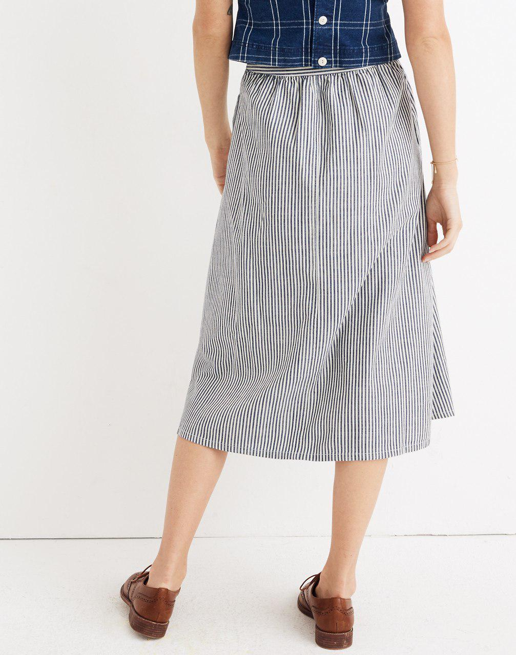 7755dc8437 Palisade Button Front Midi Skirt In Chambray Stripe | Saddha