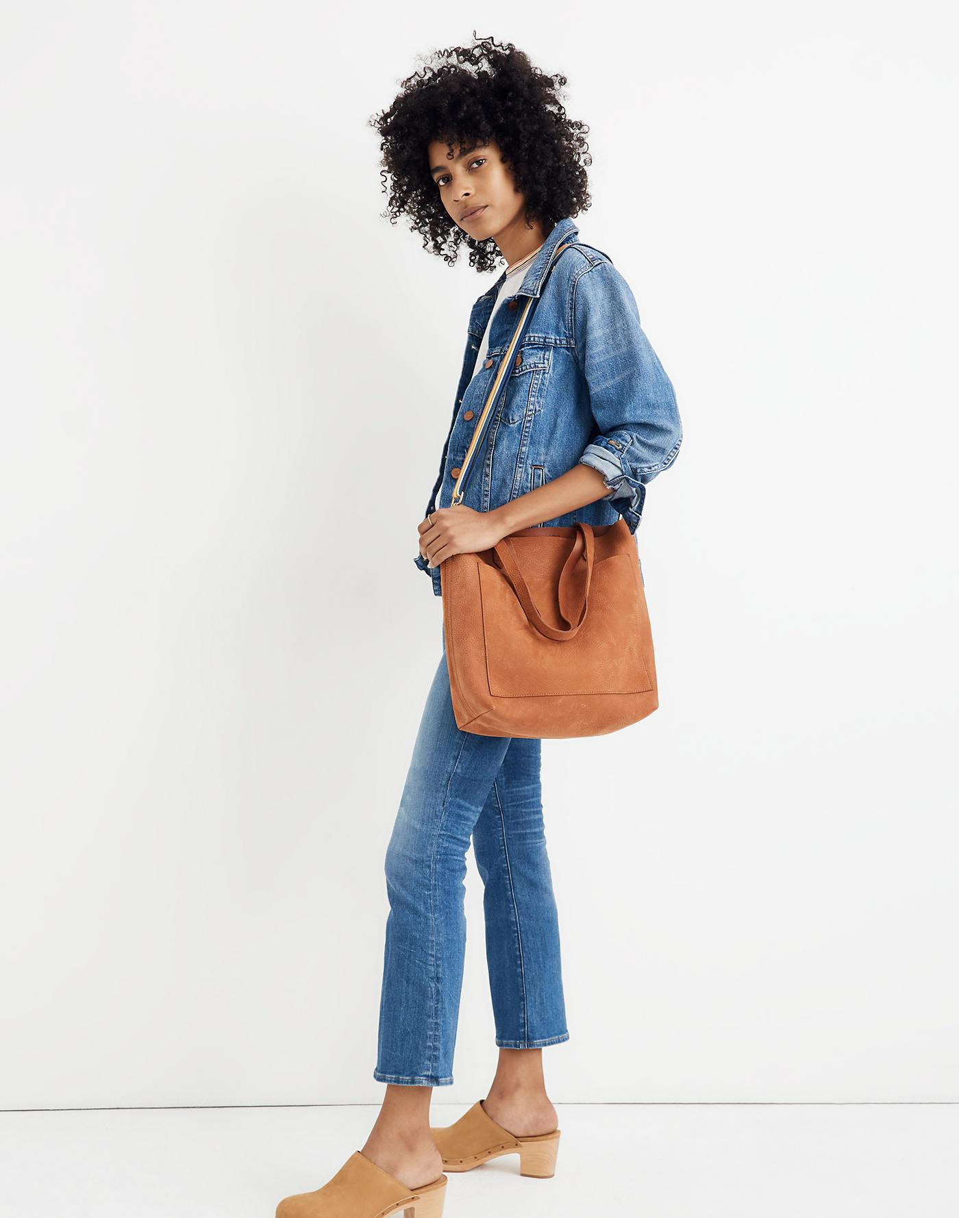 e35621314 Madewell The Medium Transport Tote In Nubuck Leather: Rainbow Strap Edition  - Lyst