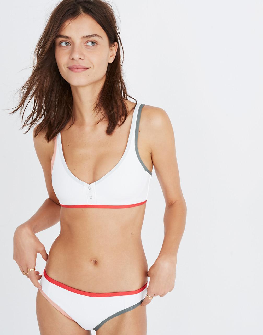 865644a9d1e89 Madewell Tavik Marlowe Henley Bikini Top in White - Lyst