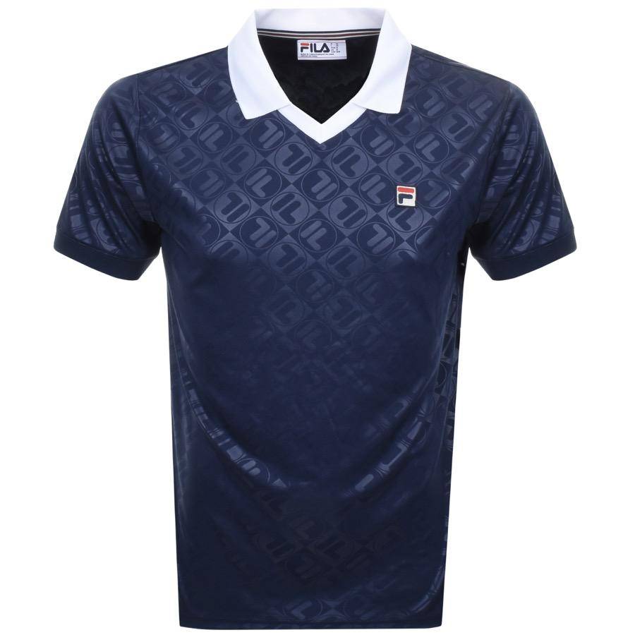Lyst Fila Vintage Plaxton Printed Polo T Shirt Navy In Blue For Men