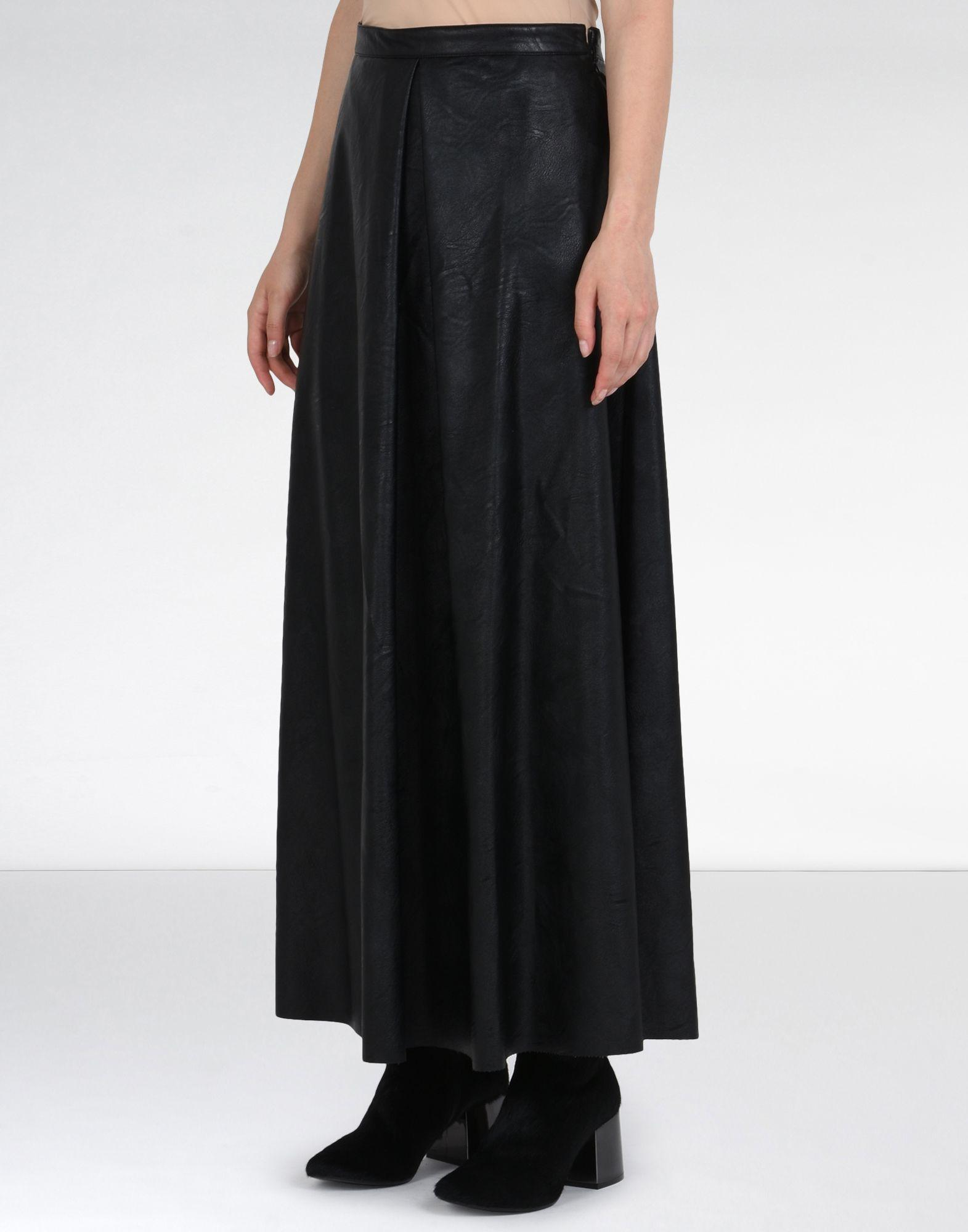 Mm6 by maison martin margiela Ankle Length Faux Leather Skirt in ...