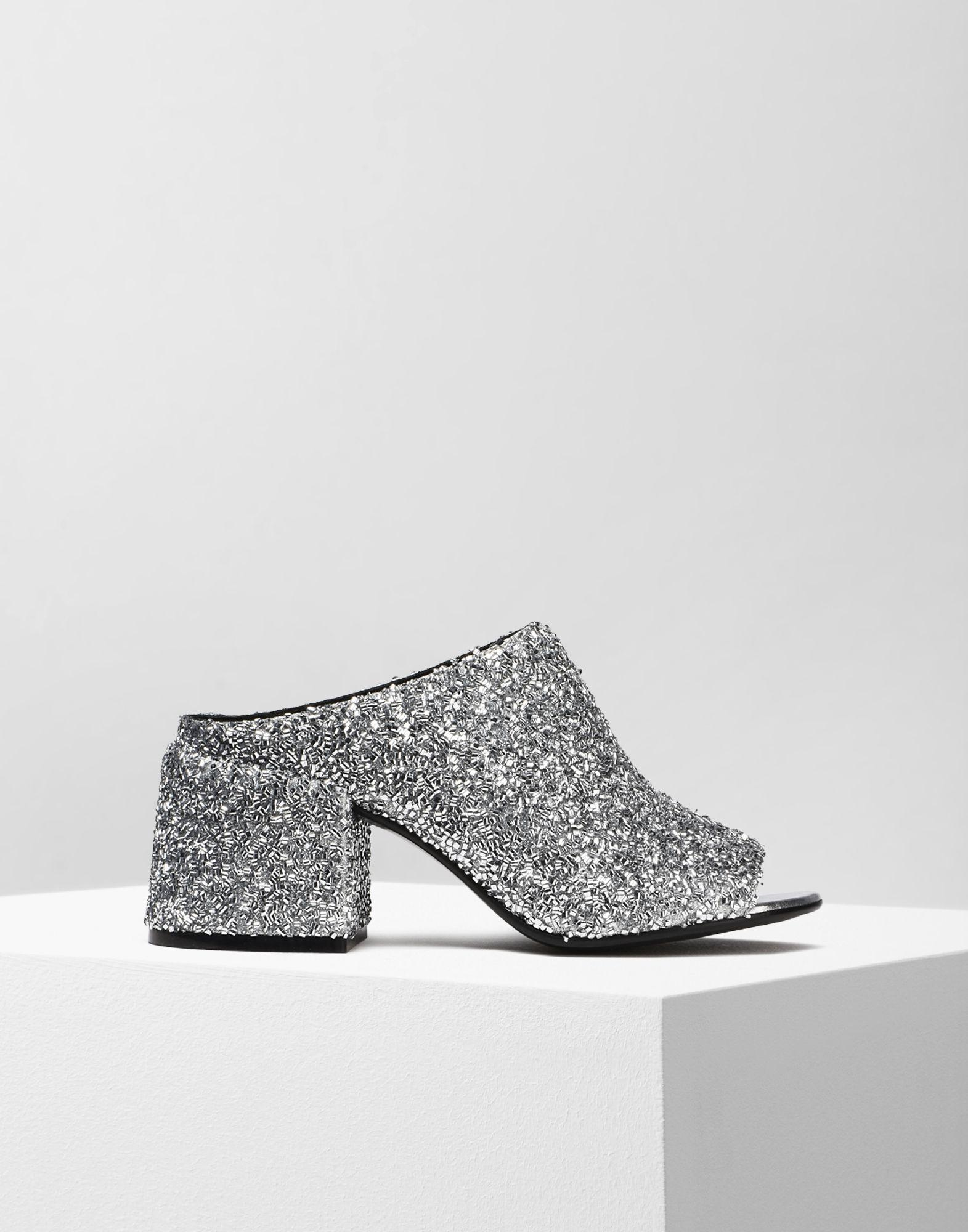 dd3cab5d3a6d Mm6 By Maison Martin Margiela Glitter Flared Heel Mules in Metallic ...