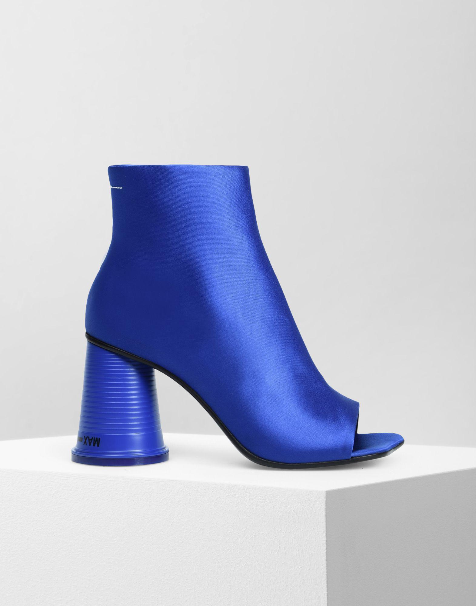de5ac1f67 MM6 by Maison Martin Margiela Peep-toe Cup Heel Ankle Boots in Blue ...